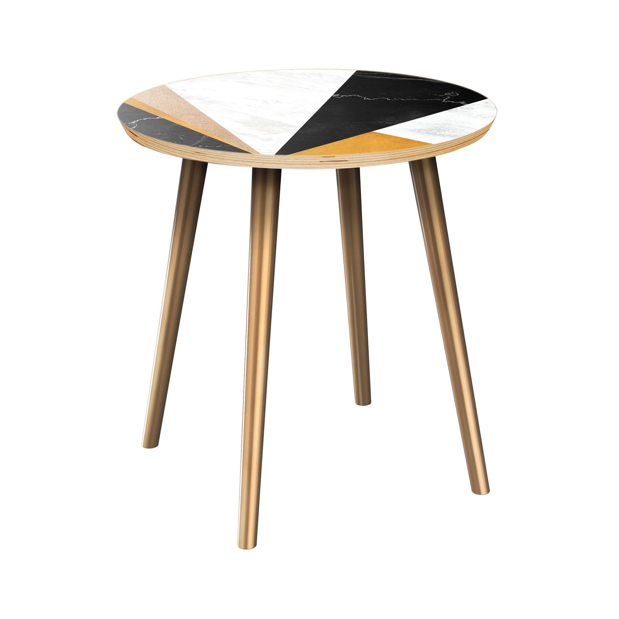 Rubino End Table Table Top Color: Natural, Table Base Color: Brass