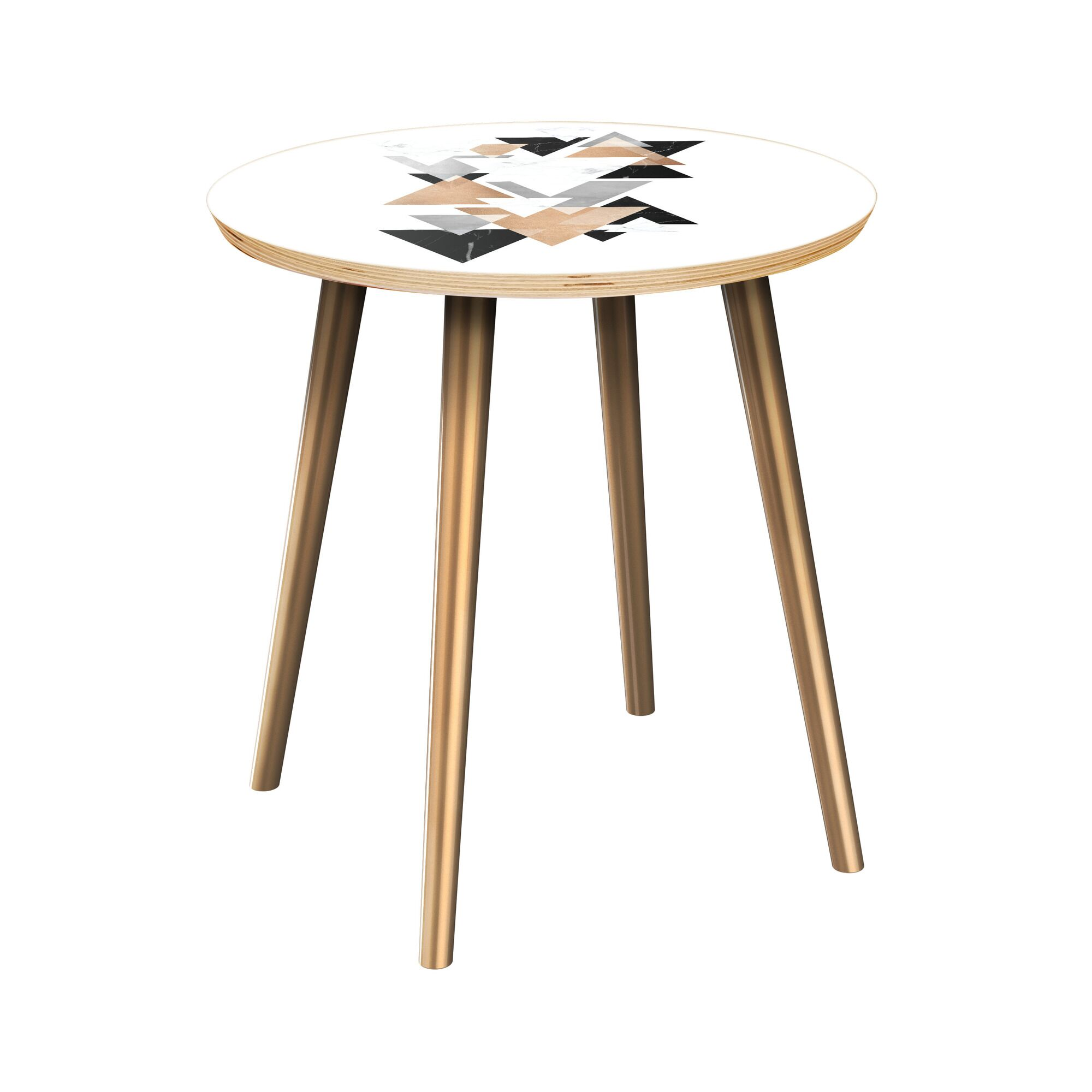 Black Raven End Table Table Top Color: Natural, Table Base Color: Brass