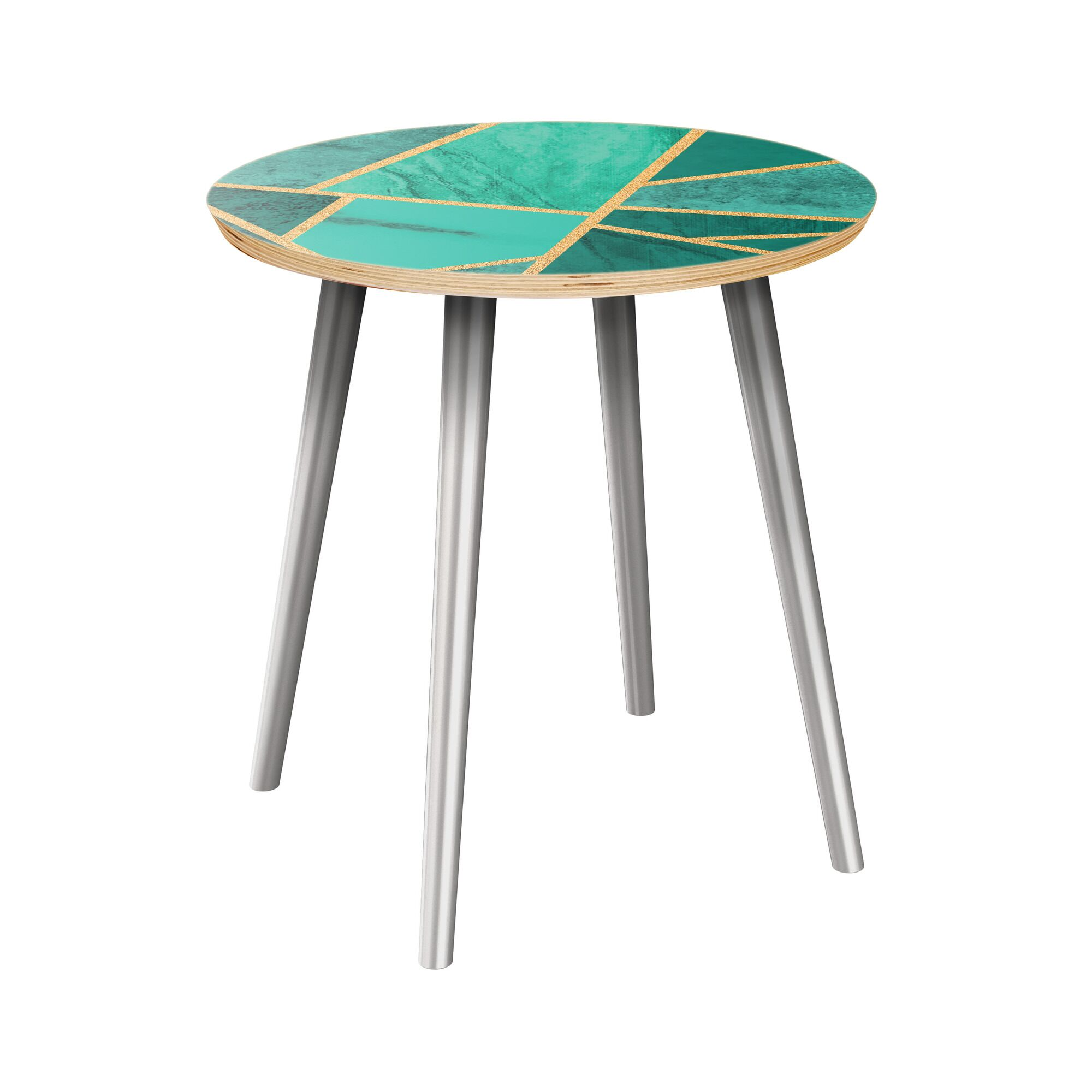Rowell End Table Table Top Color: Natural/Green, Table Base Color: Chrome