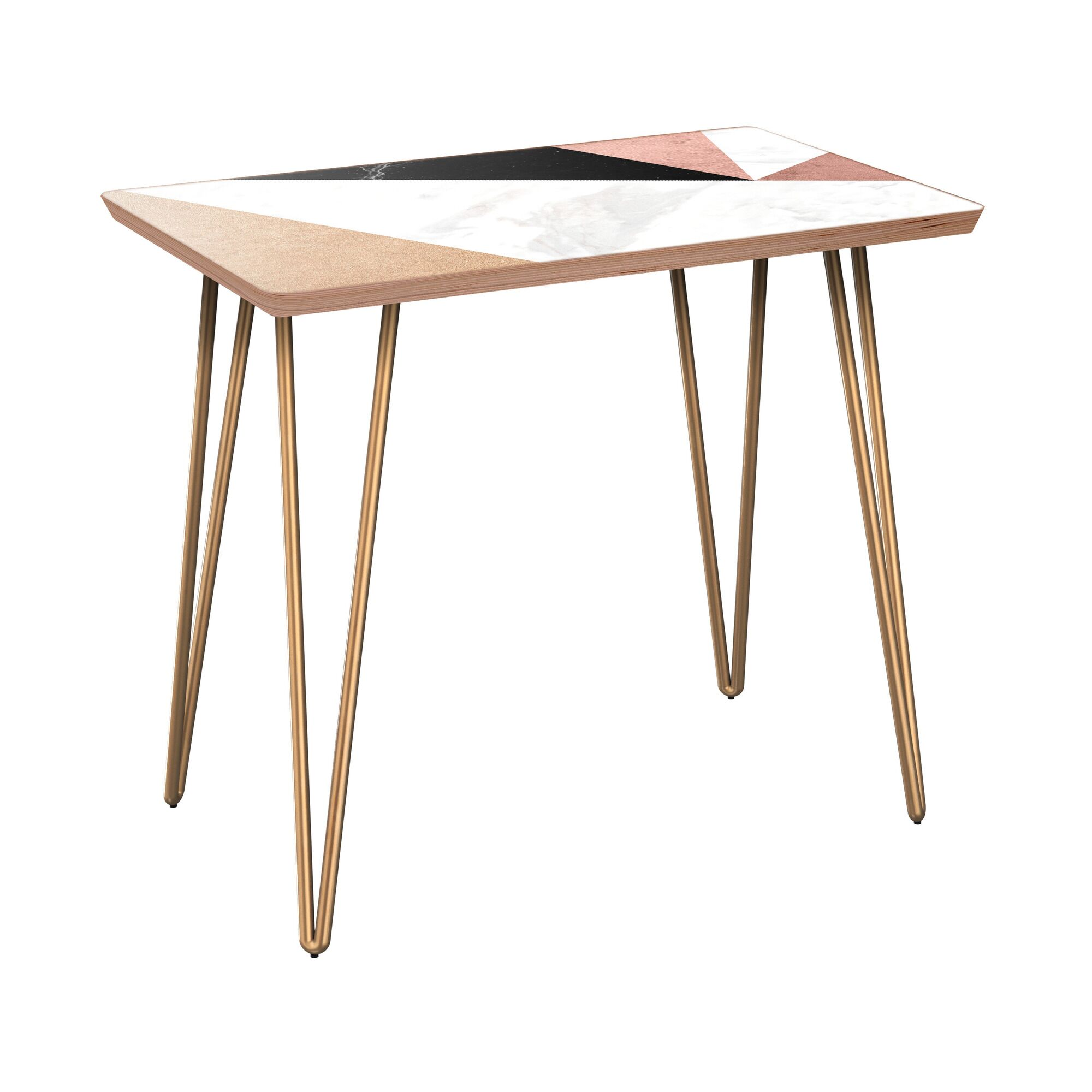 Rozell End Table Table Base Color: Brass, Table Top Color: Walnut
