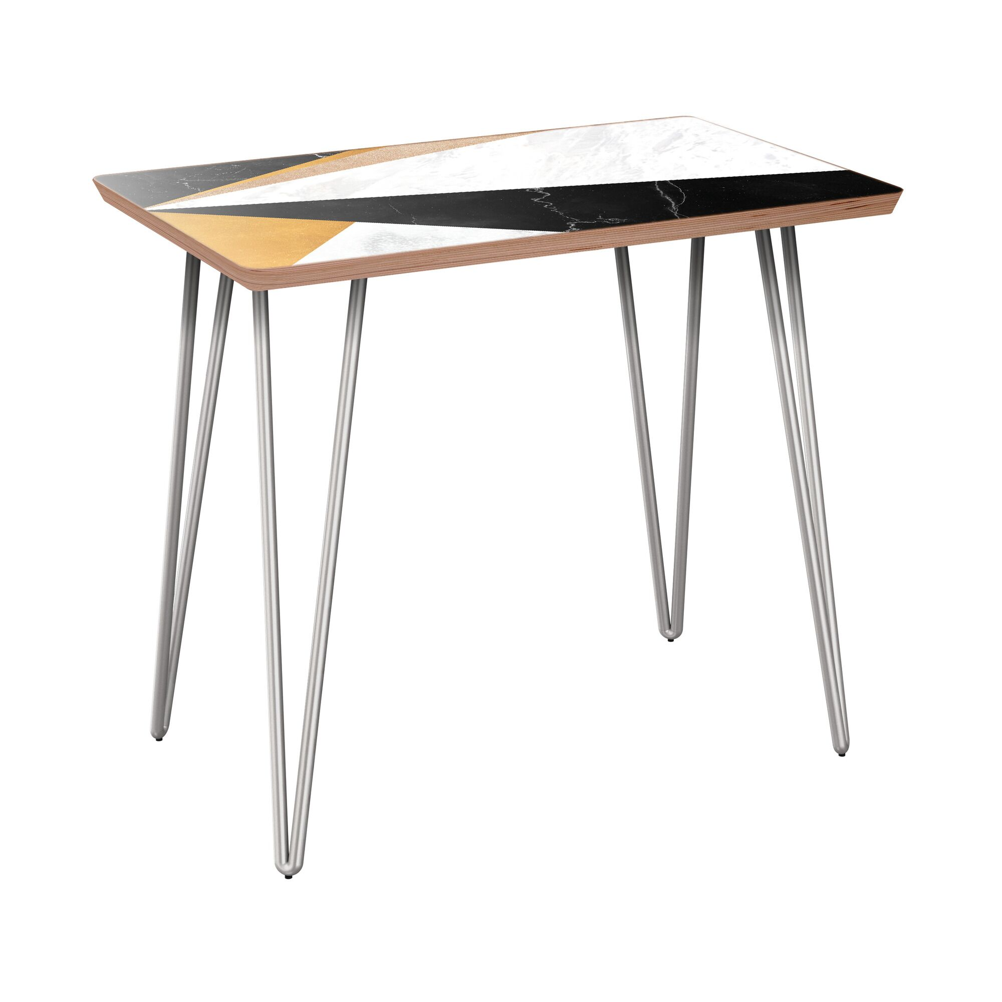 Rozar End Table Table Base Color: Chrome, Table Top Color: Walnut/Black