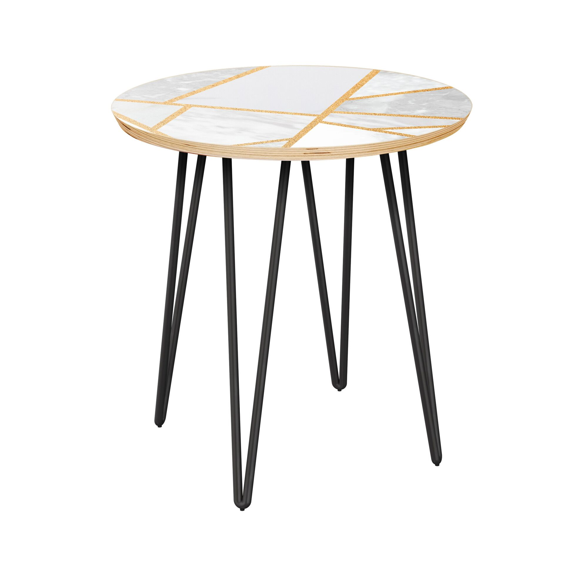 Rowe End Table Table Base Color: Black, Table Top Color: Natural/White