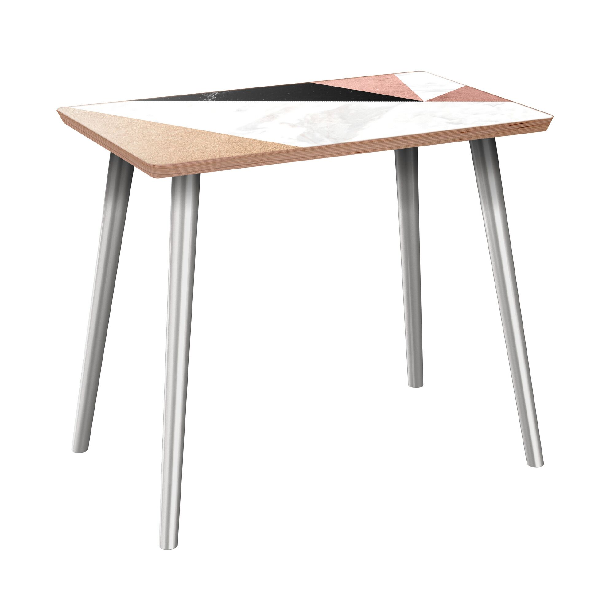 Ruble End Table Table Base Color: Chrome, Table Top Color: Walnut