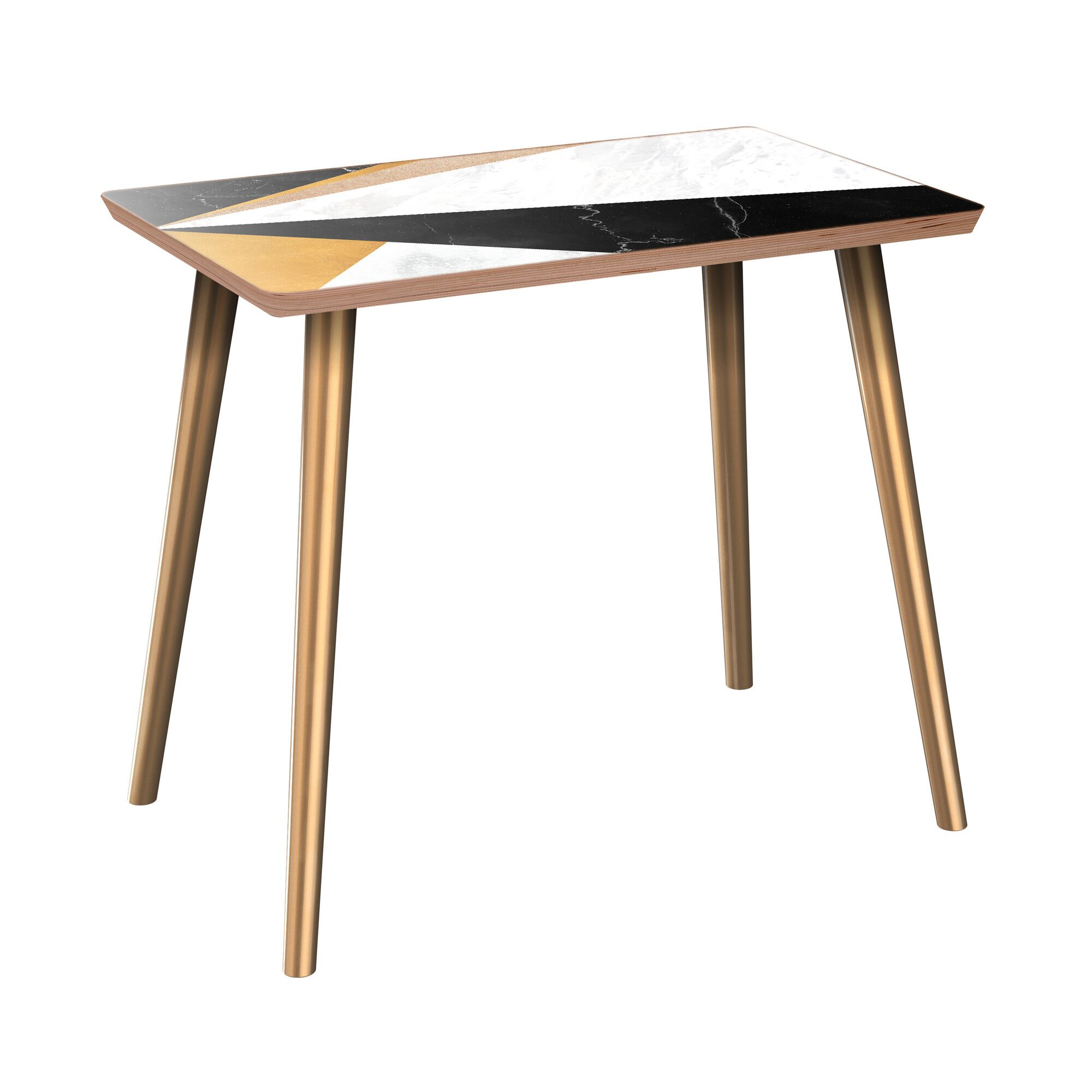 Royster End Table Table Top Color: Walnut/Black, Table Base Color: Brass