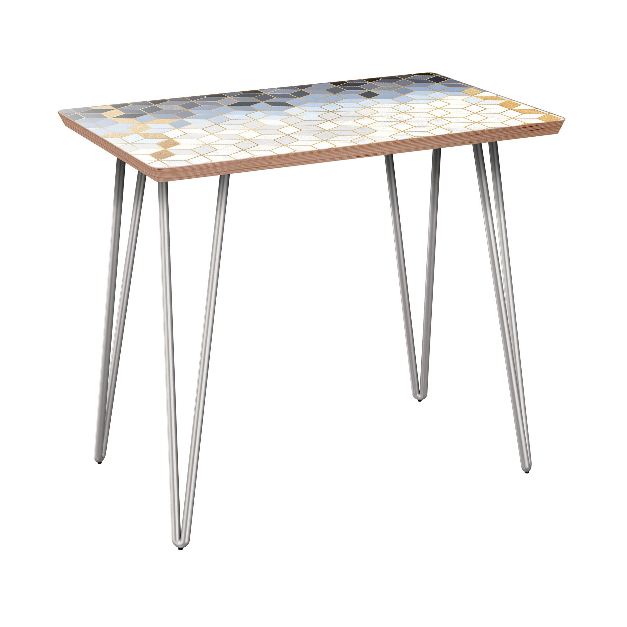 Ruck End Table Table Base Color: Chrome, Table Top Color: Walnut
