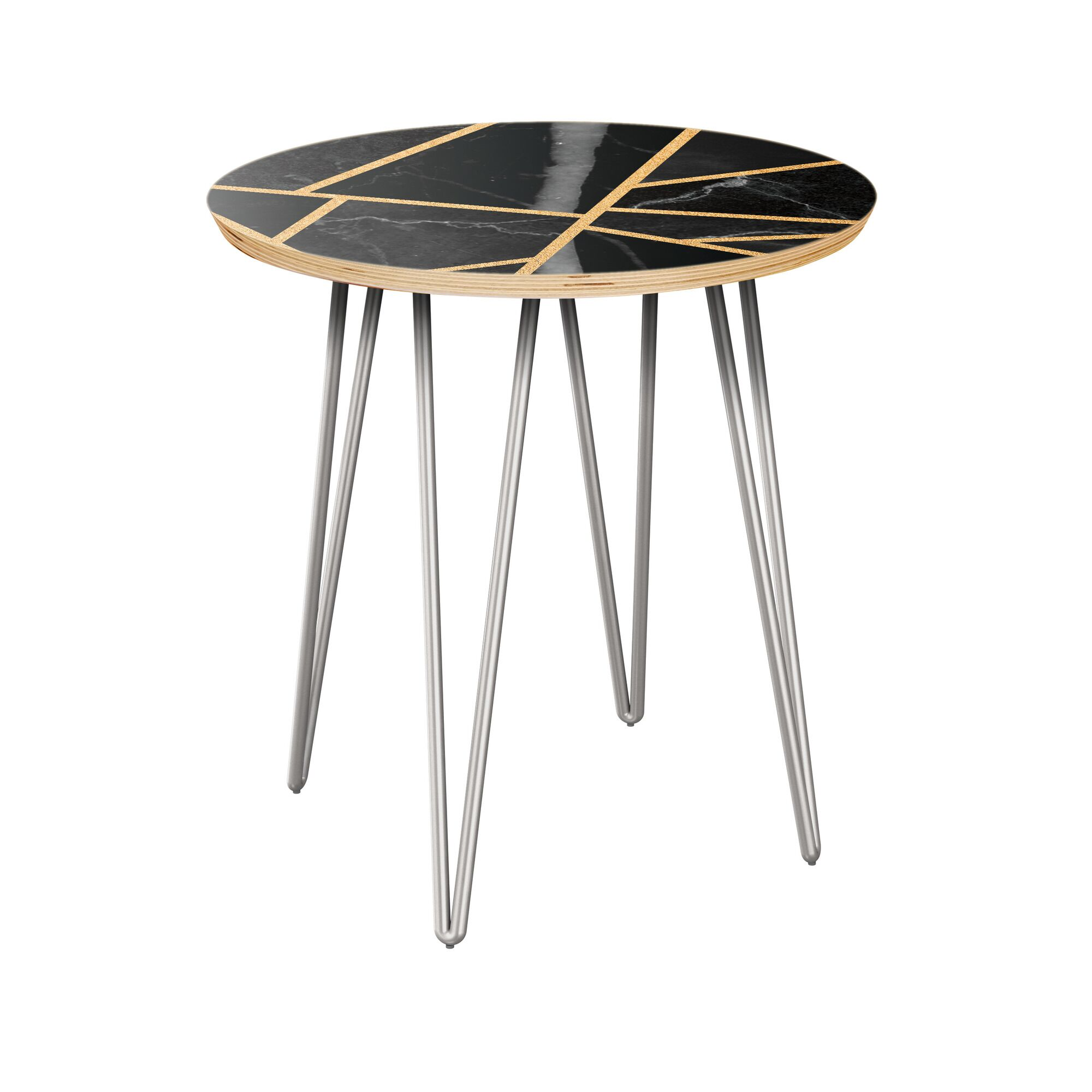 Rowe End Table Table Base Color: Chrome, Table Top Color: Natural/Black