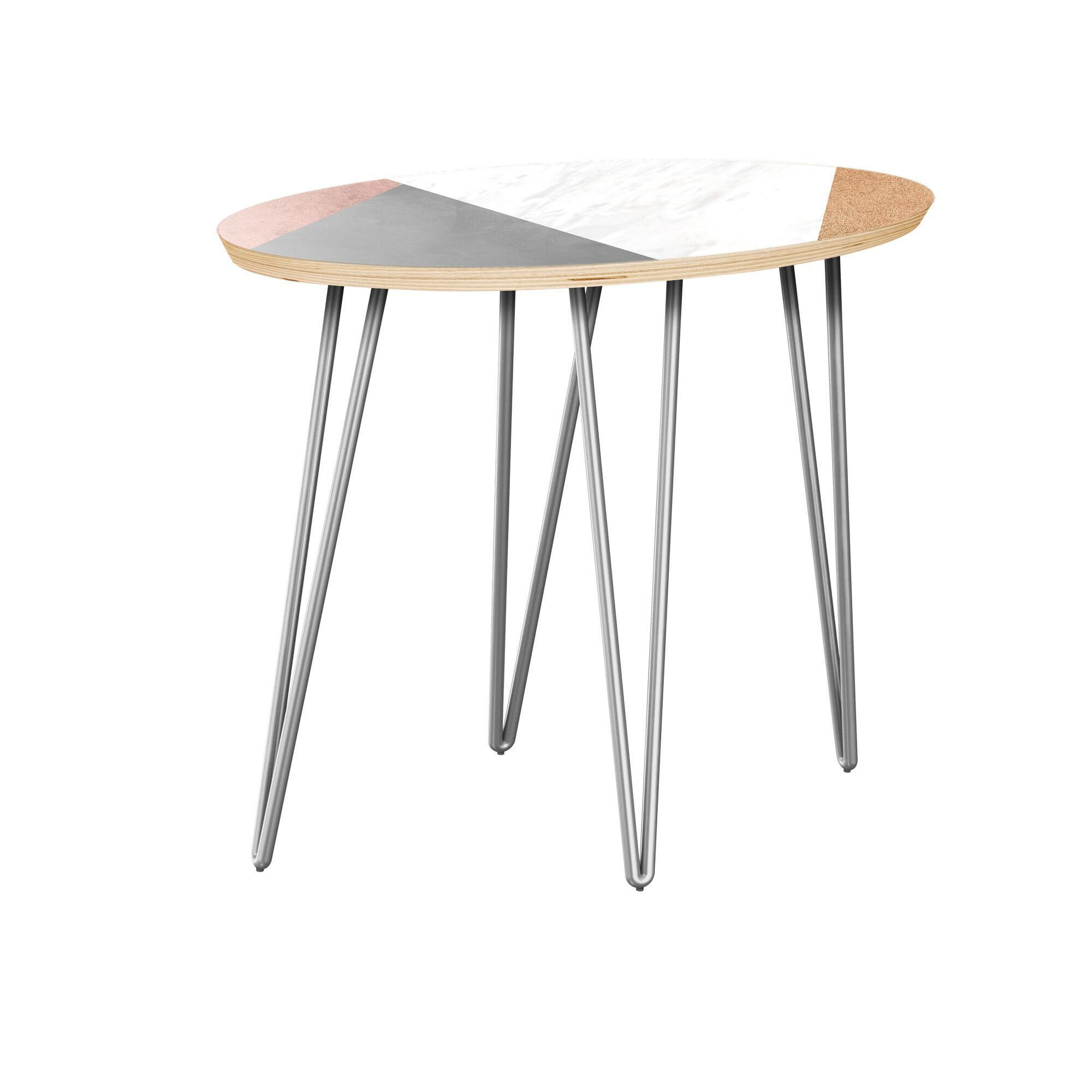 Guiterrez End Table Table Top Color: Natural, Table Base Color: Chrome