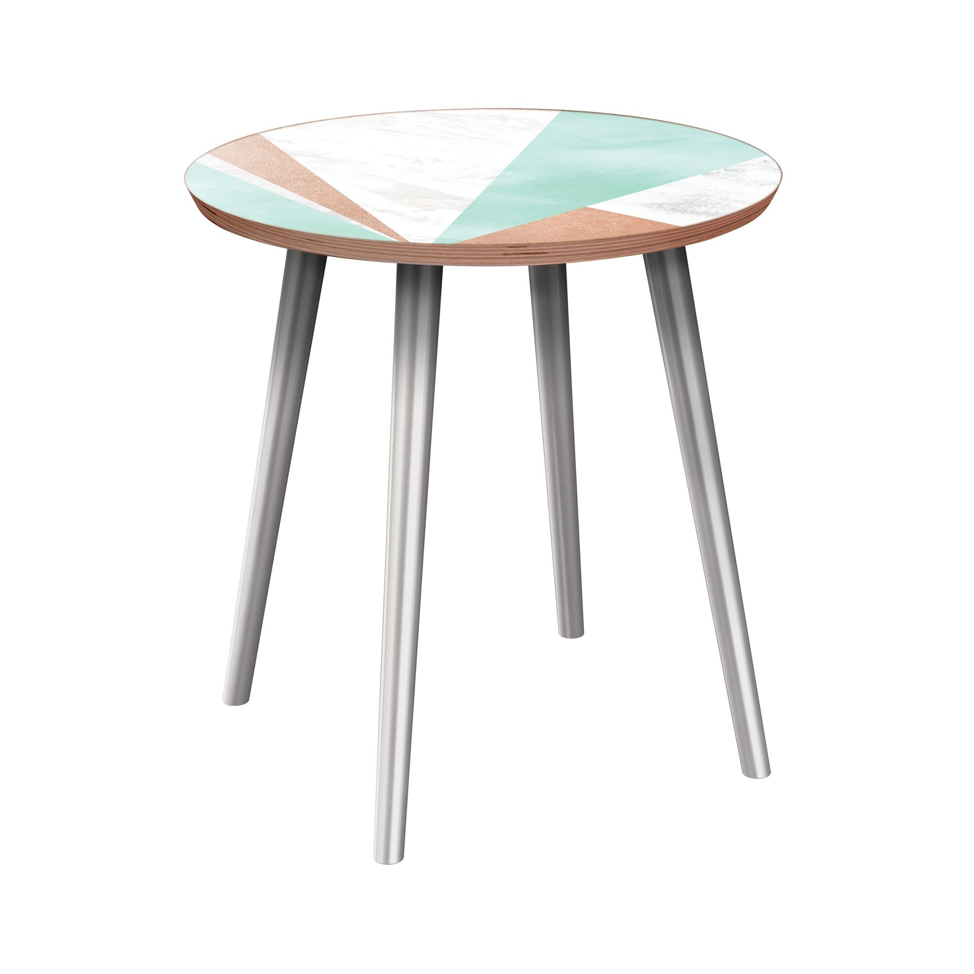 Eleah End Table Table Base Color: Chrome, Table Top Color: Walnut