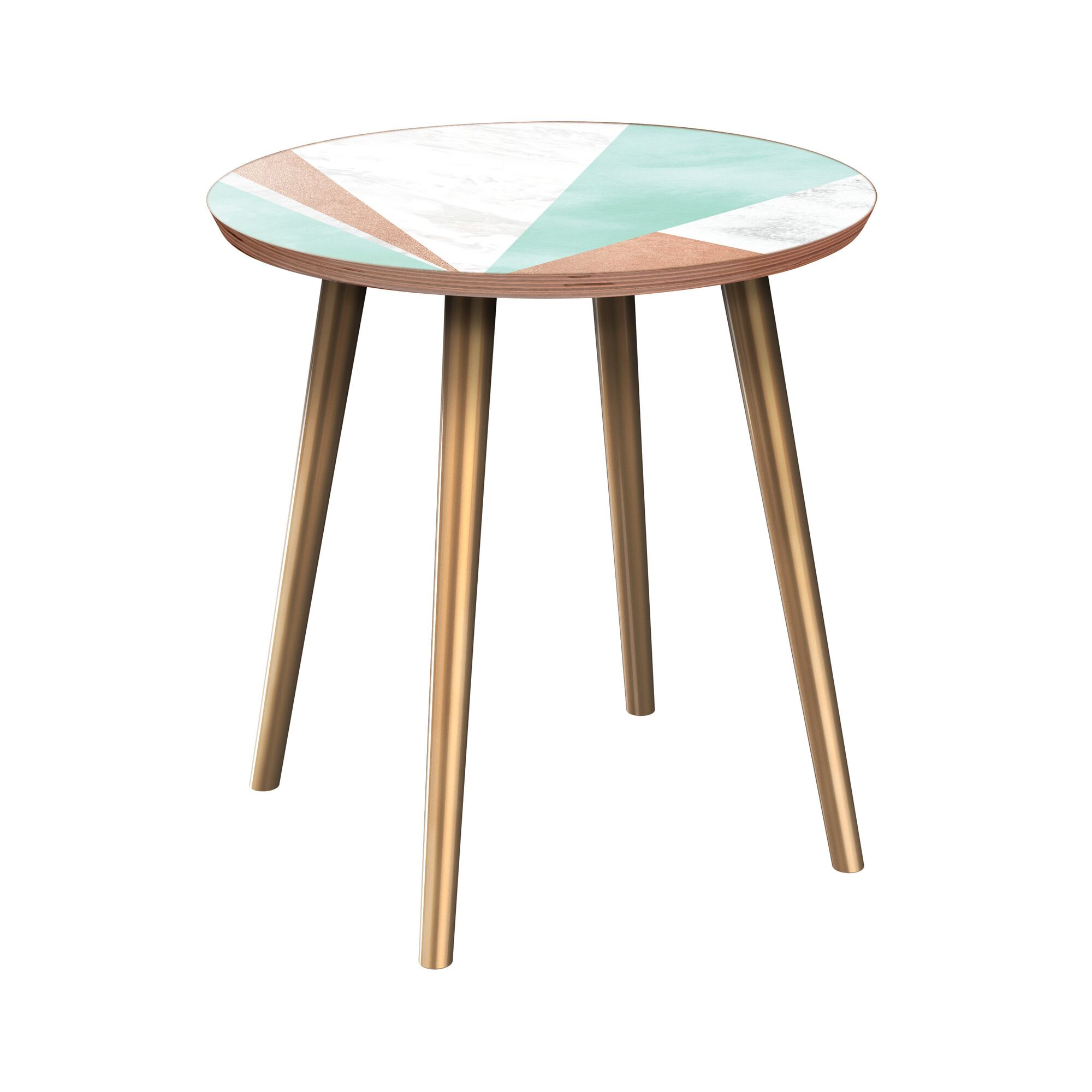 Eleah End Table Table Base Color: Brass, Table Top Color: Walnut