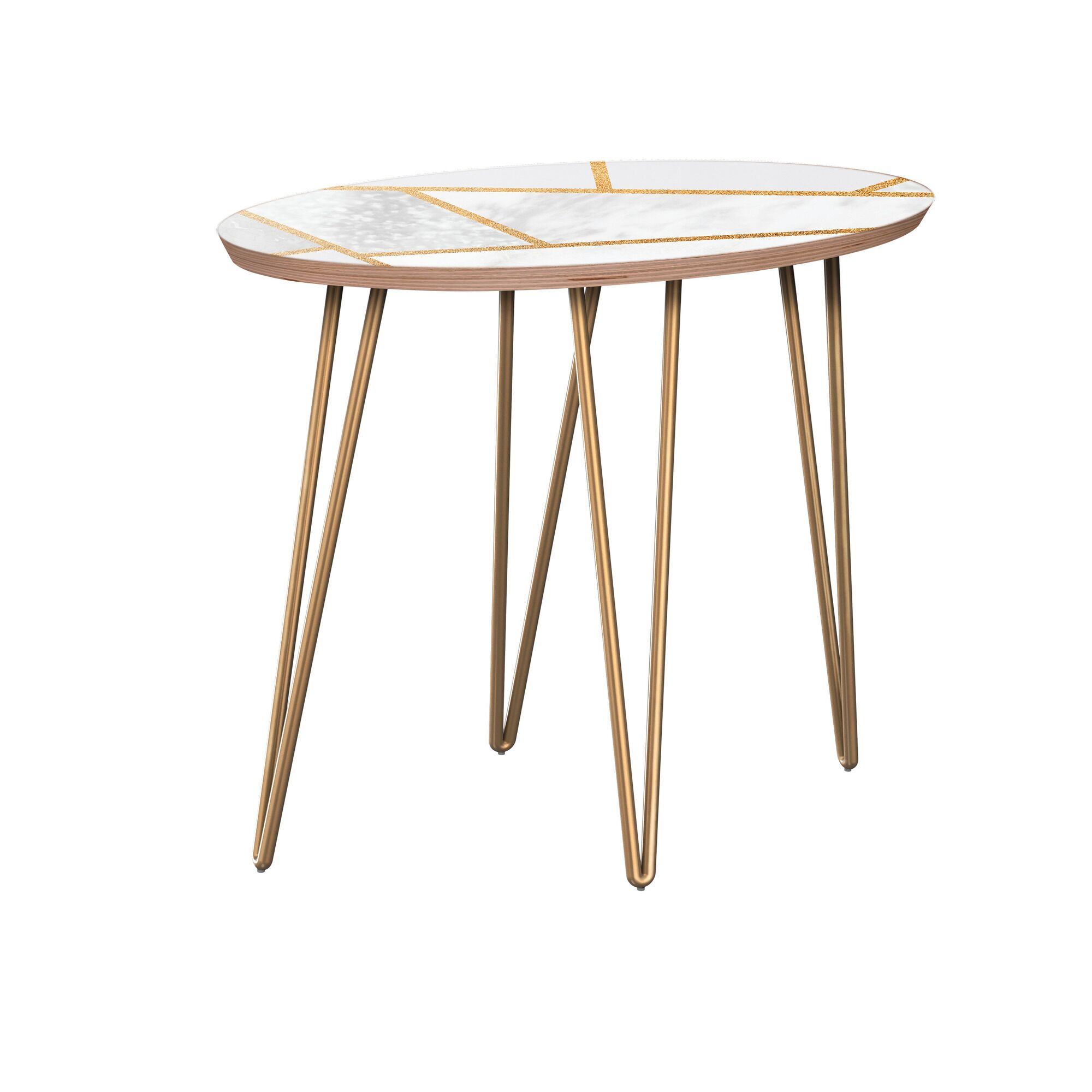 Turek End Table Table Top Color: Walnut/White, Table Base Color: Brass