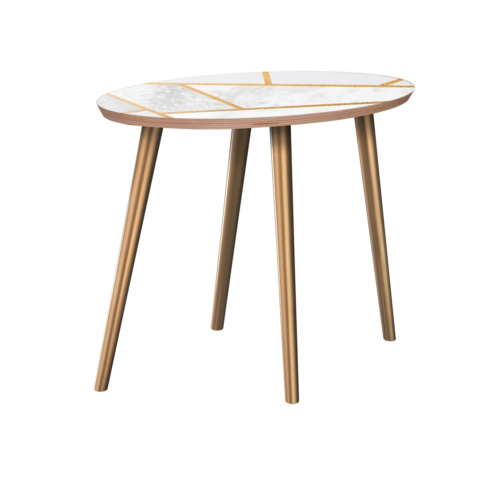 Turgeon End Table Table Base Color: Brass, Table Top Color: Walnut/White