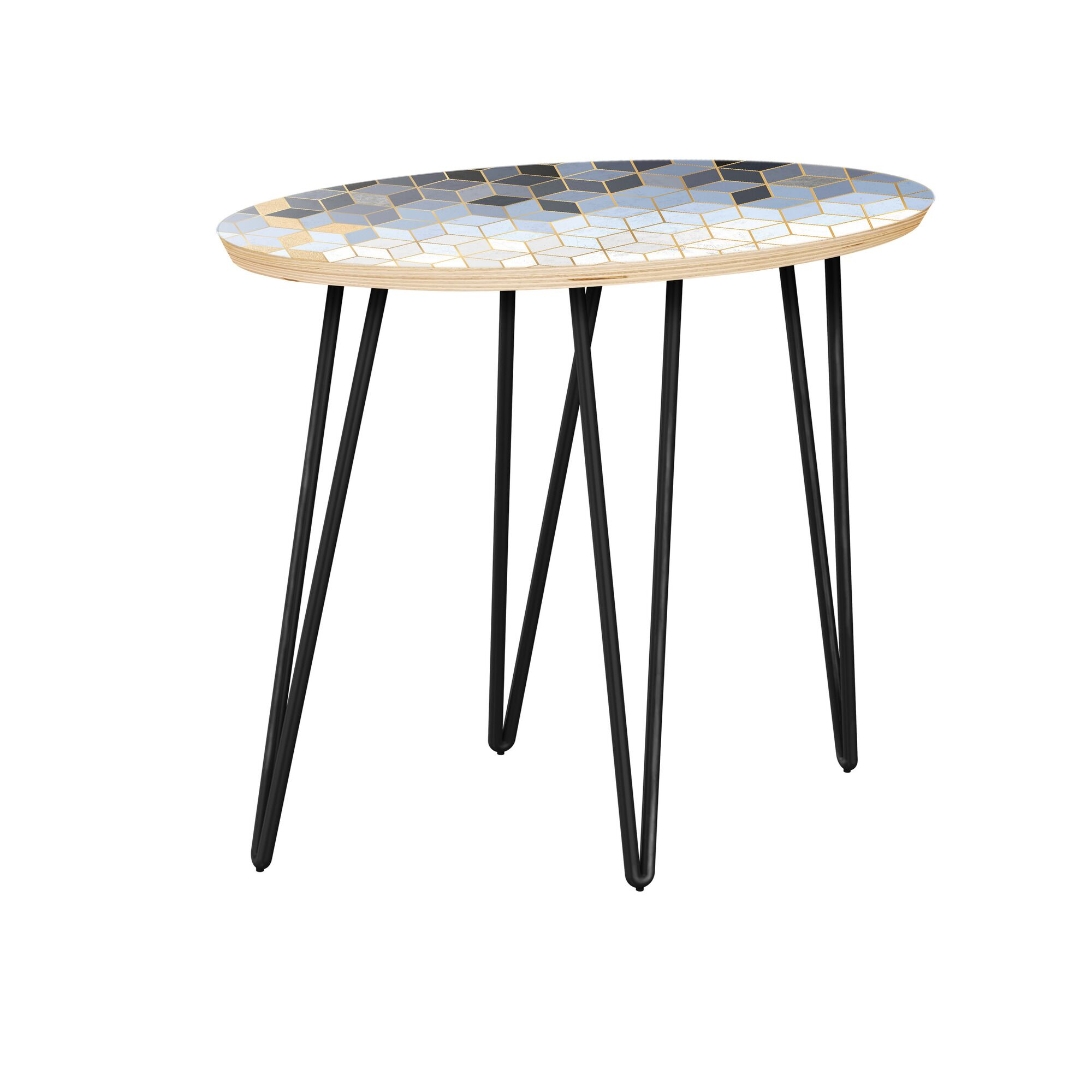 Gustafson End Table Table Top Color: Natural, Table Base Color: Black