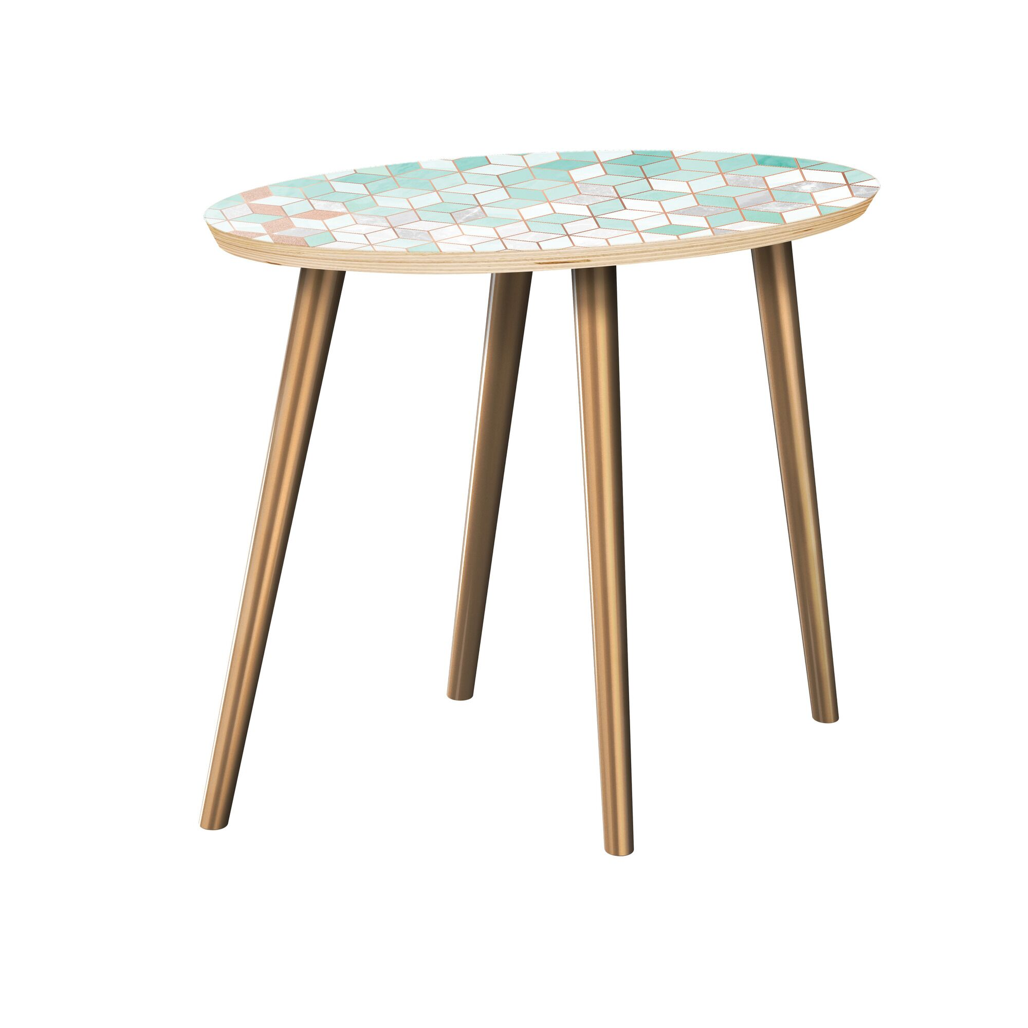Arakaki End Table Table Top Color: Natural, Table Base Color: Brass