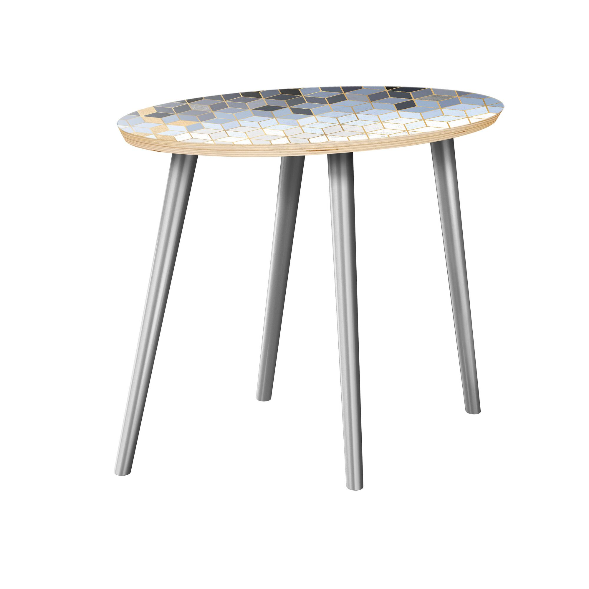 Guth End Table Table Top Color: Natural, Table Base Color: Chrome
