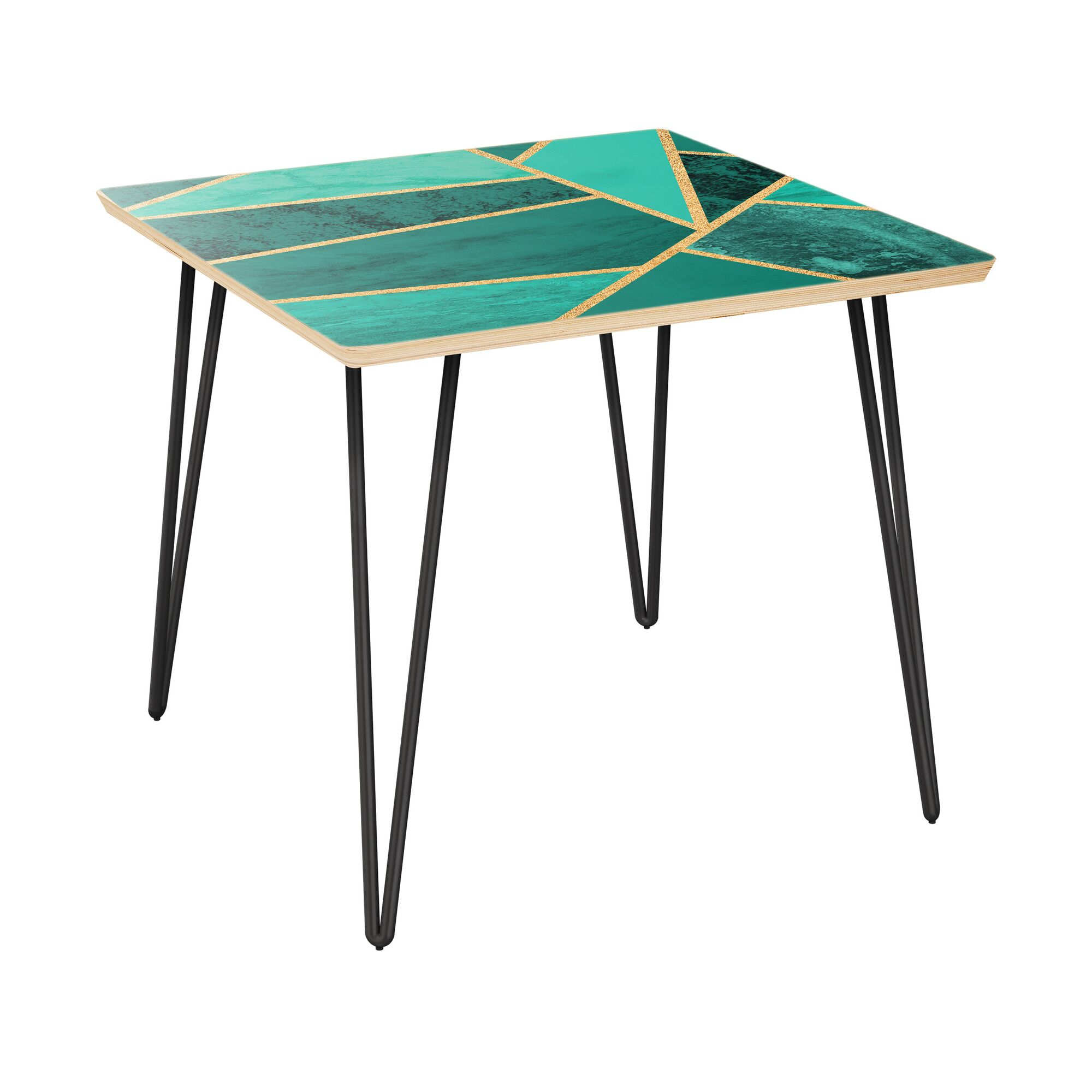 Mcgehee End Table Table Top Color: Natural/Green, Table Base Color: Black