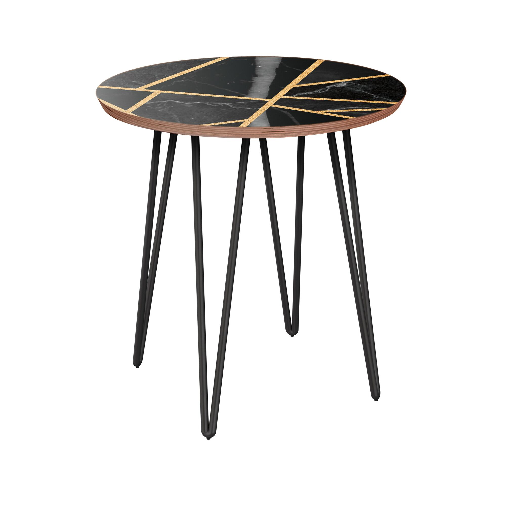 Rowe End Table Table Base Color: Black, Table Top Color: Walnut/Black