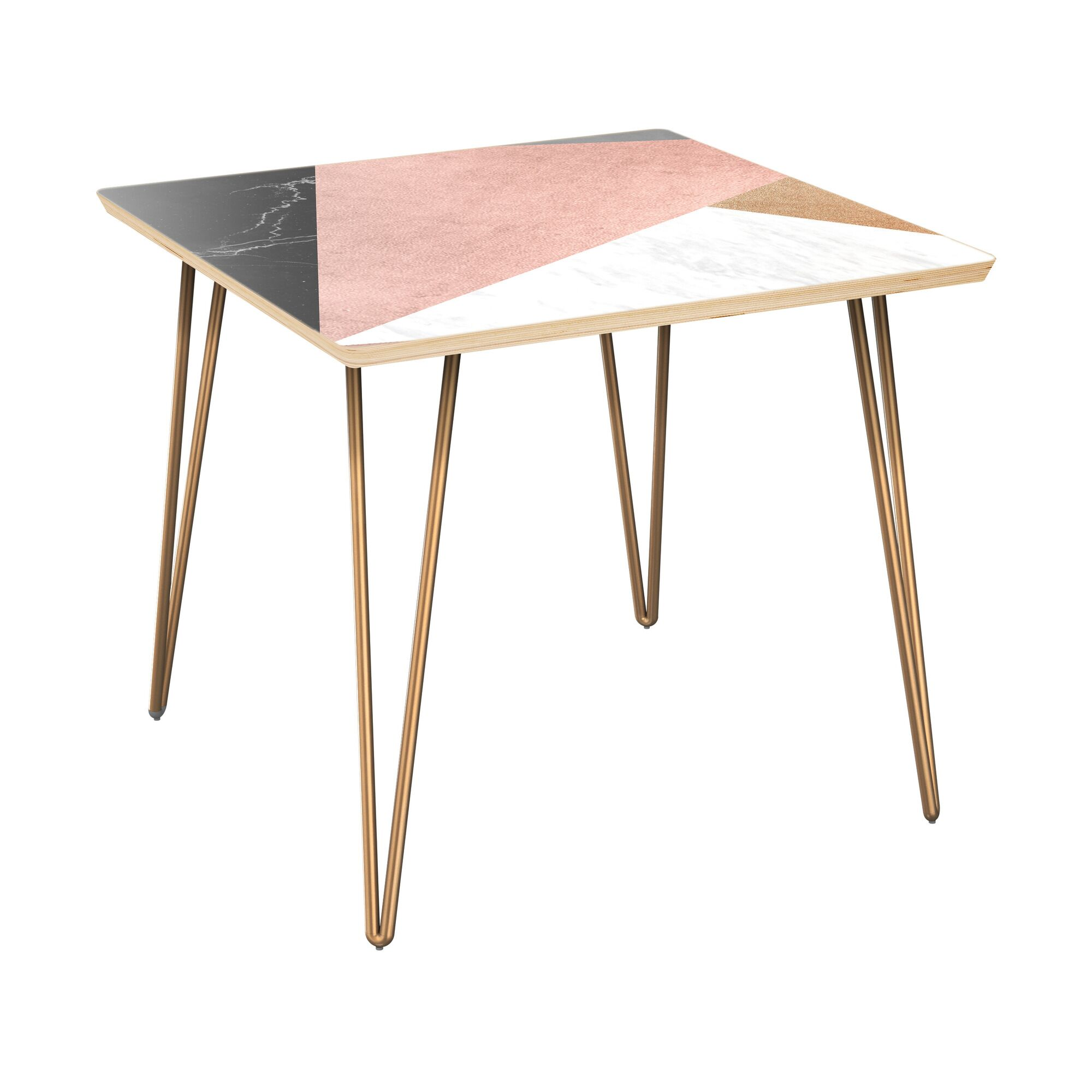 Rosso End Table Table Top Color: Natural, Table Base Color: Brass