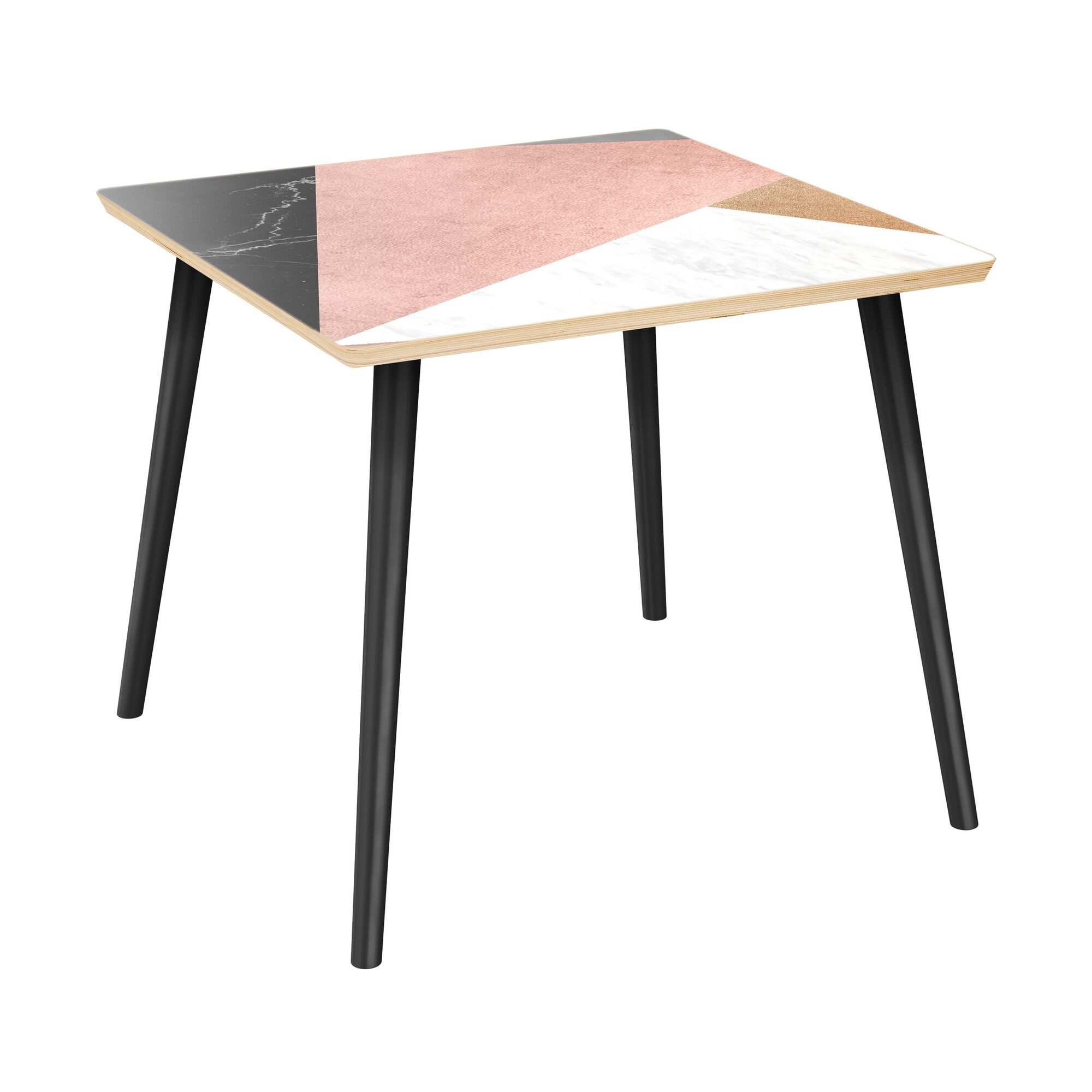 Rousey End Table Table Top Color: Natural, Table Base Color: Black