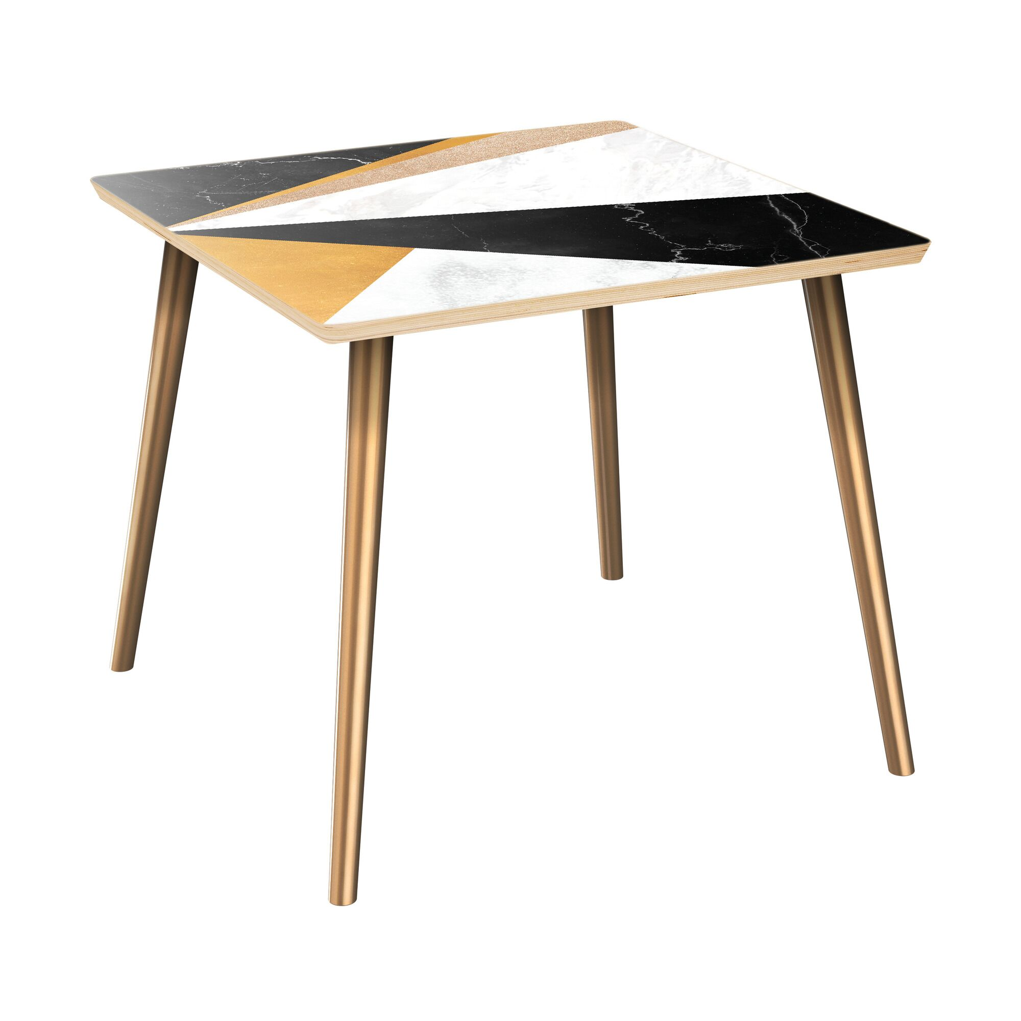 Gupton End Table Table Top Color: Natural/Black, Table Base Color: Brass