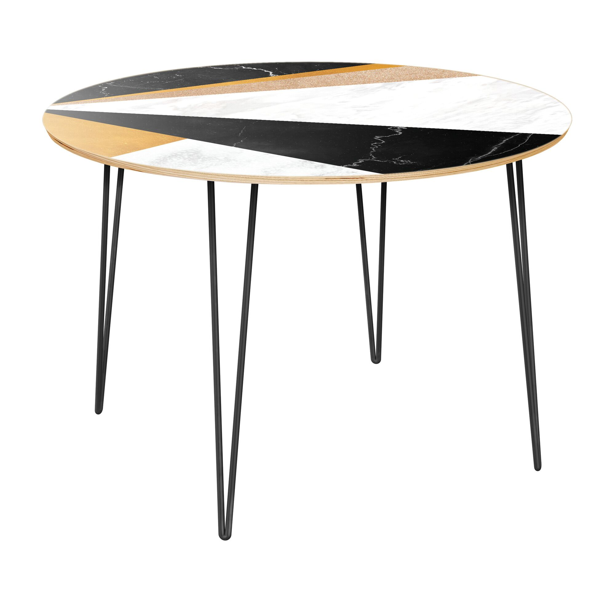 Gwin Dining Table Top Color: Natural, Base Color: Black