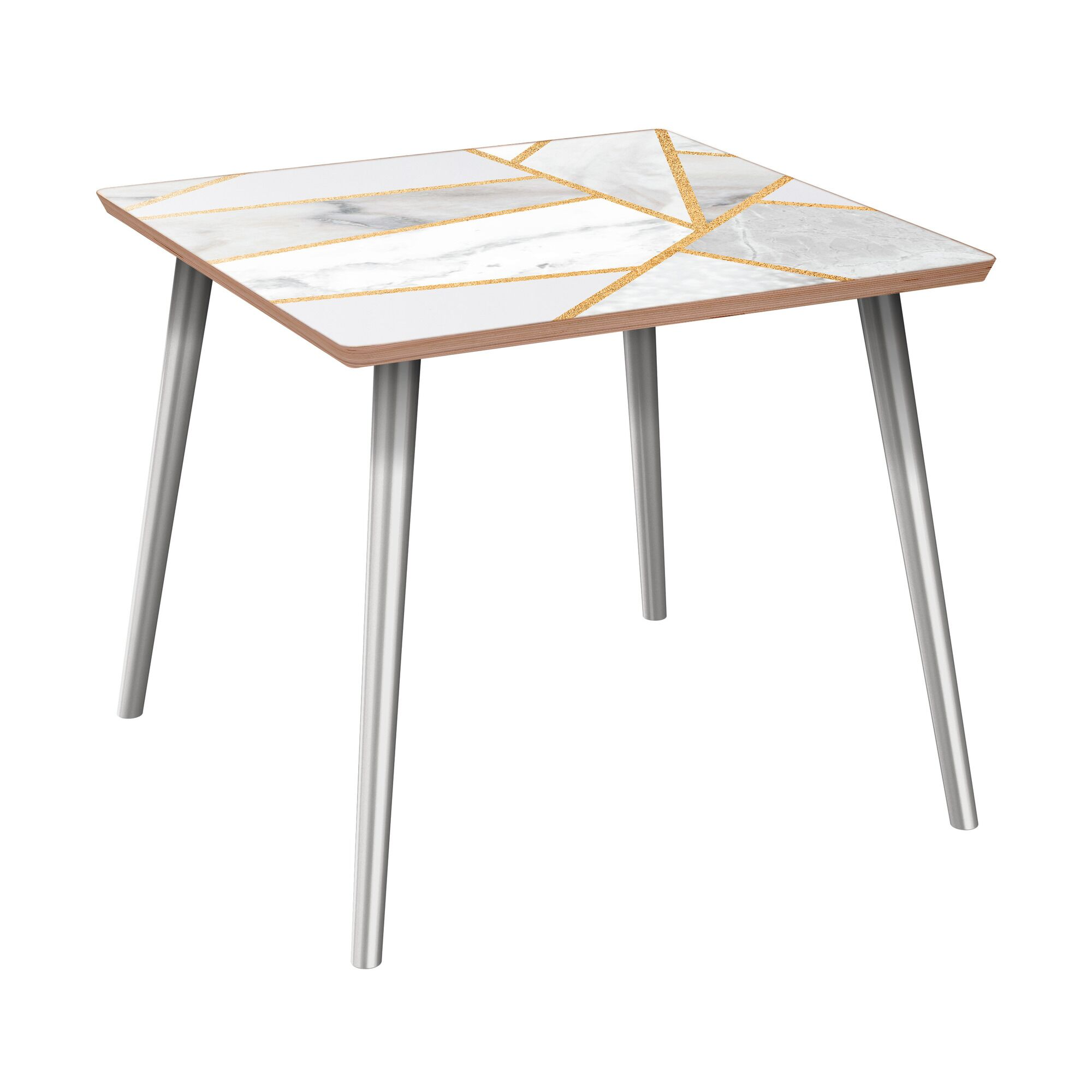 Mcgoldrick End Table Table Base Color: Chrome, Table Top Color: Walnut/White