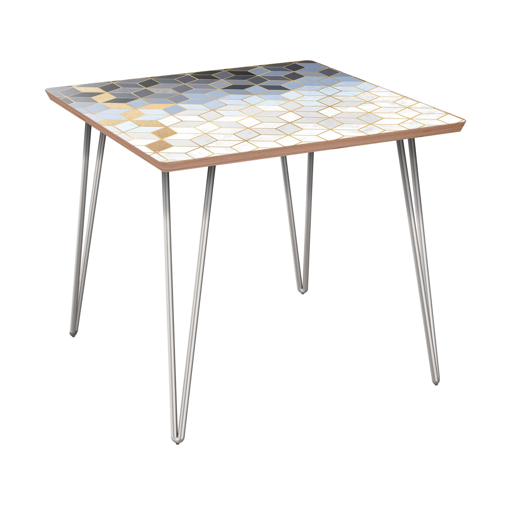 Anacortes End Table Table Base Color: Chrome, Table Top Color: Walnut