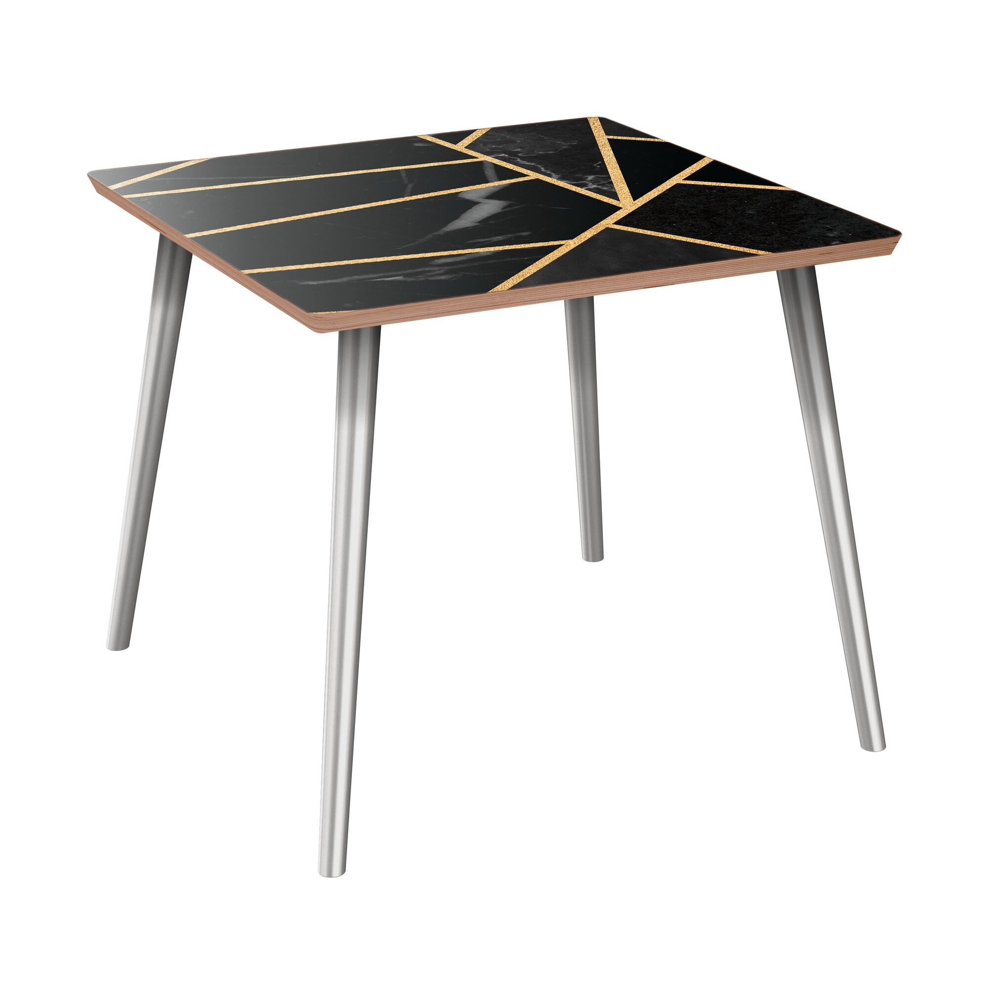 Mcgoldrick End Table Table Base Color: Chrome, Table Top Color: Walnut/Black