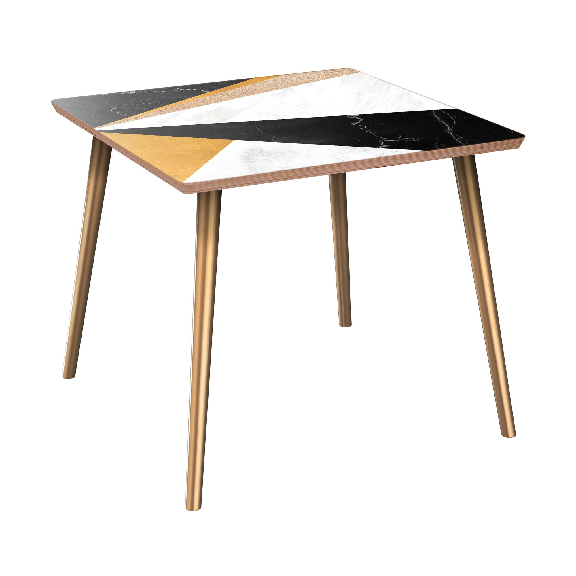 Gupton End Table Table Base Color: Brass, Table Top Color: Walnut/Black