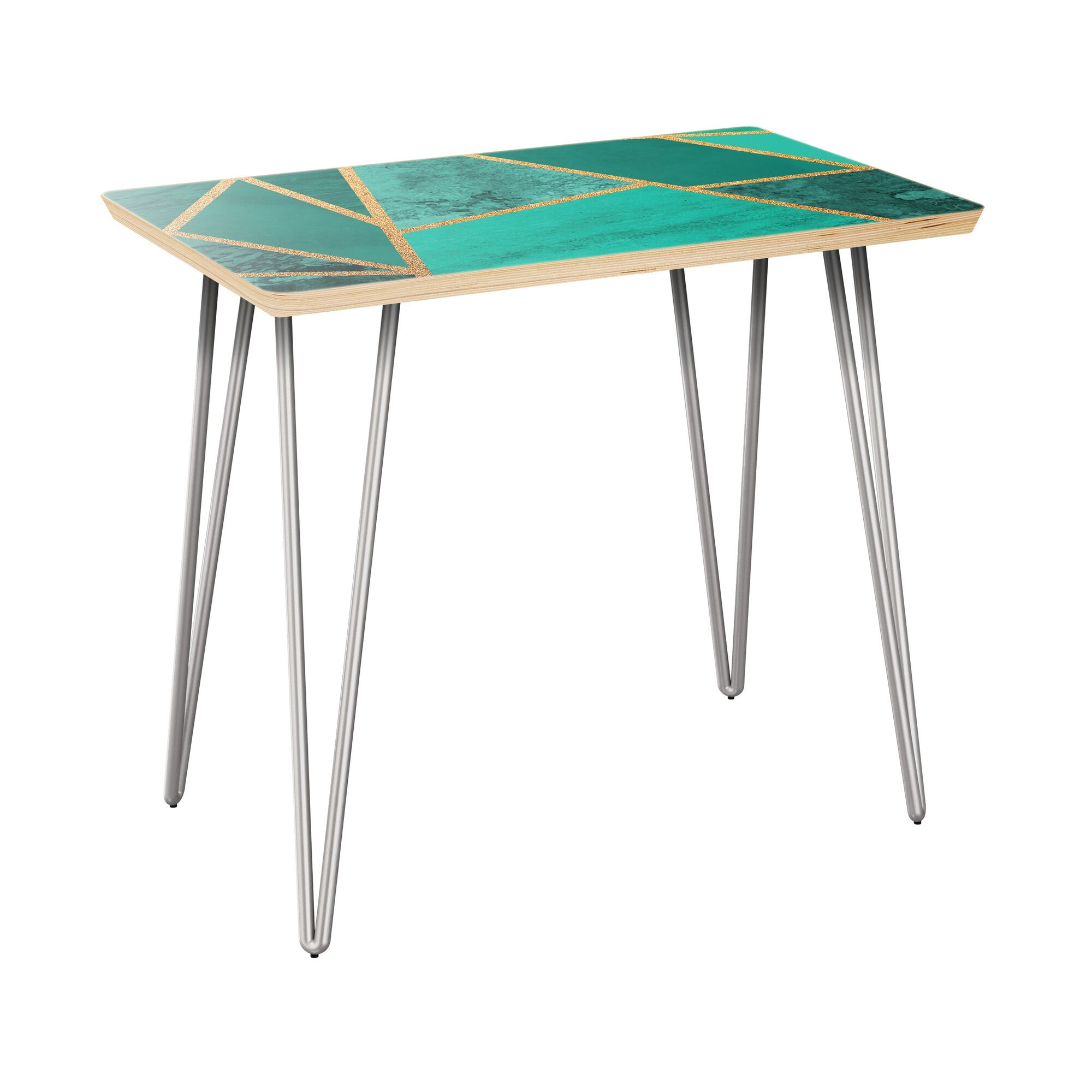 Newtonsville End Table Table Top Color: Natural, Table Base Color: Chrome