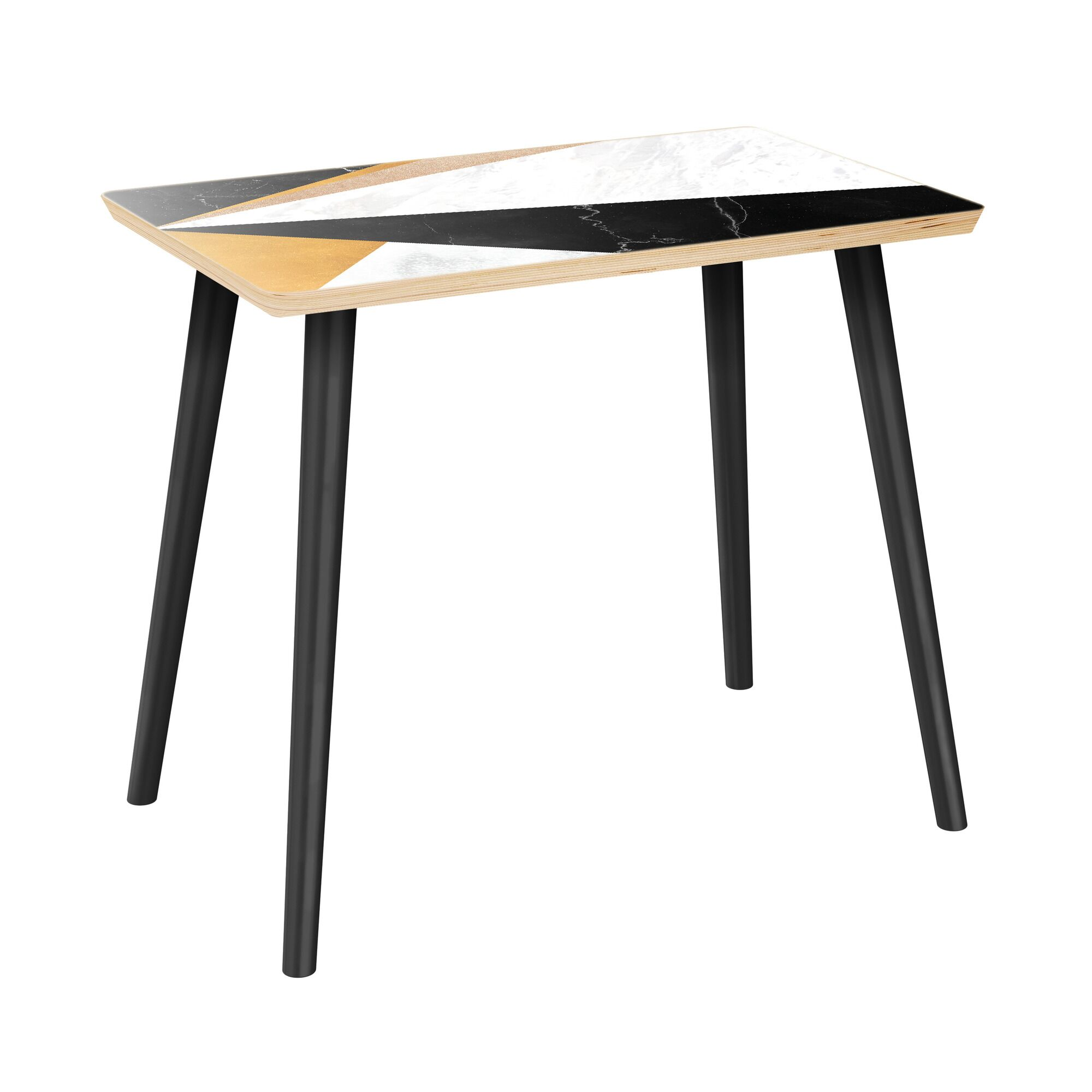 Royster End Table Table Top Color: Natural/Black, Table Base Color: Black