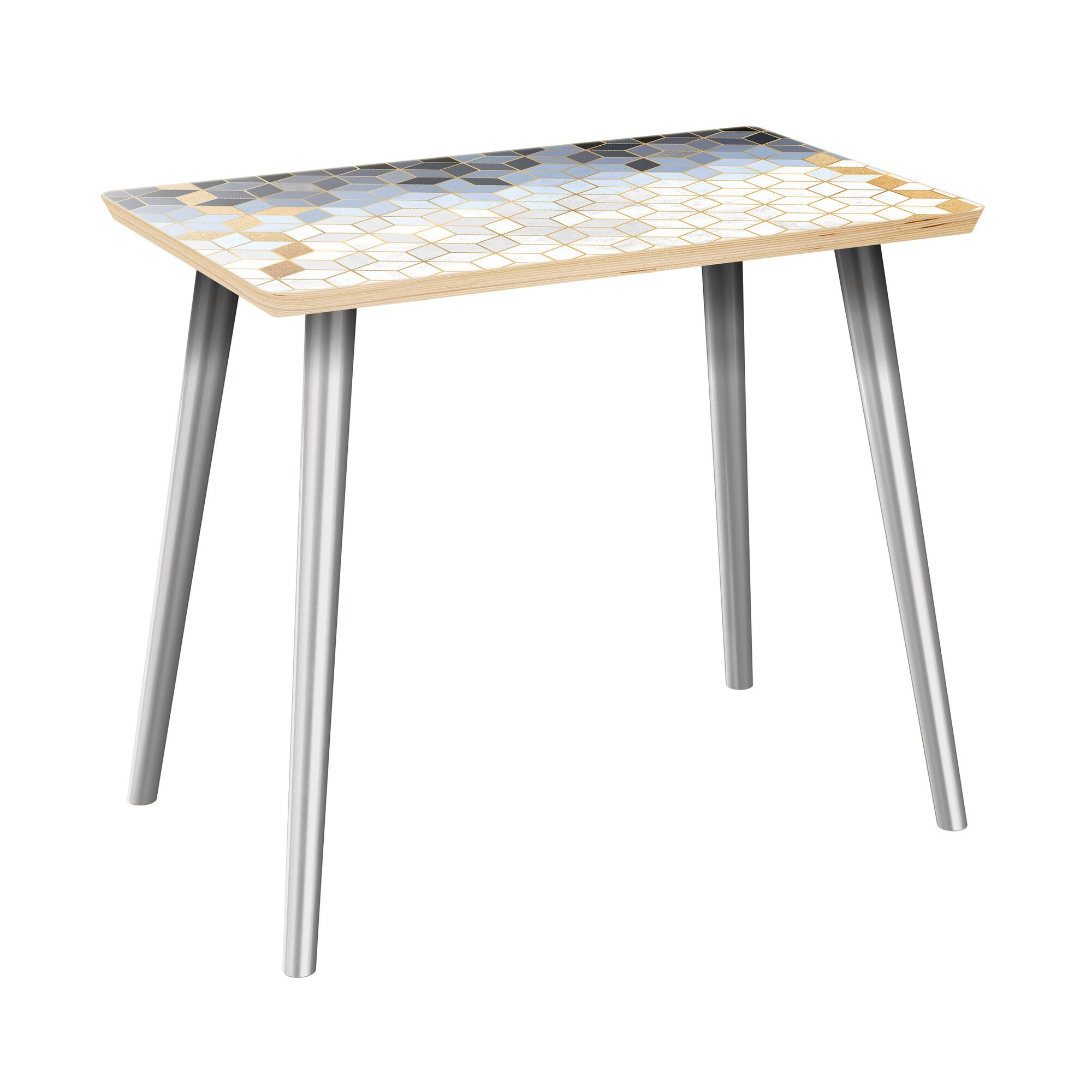 Rucker End Table Table Top Color: Natural, Table Base Color: Chrome