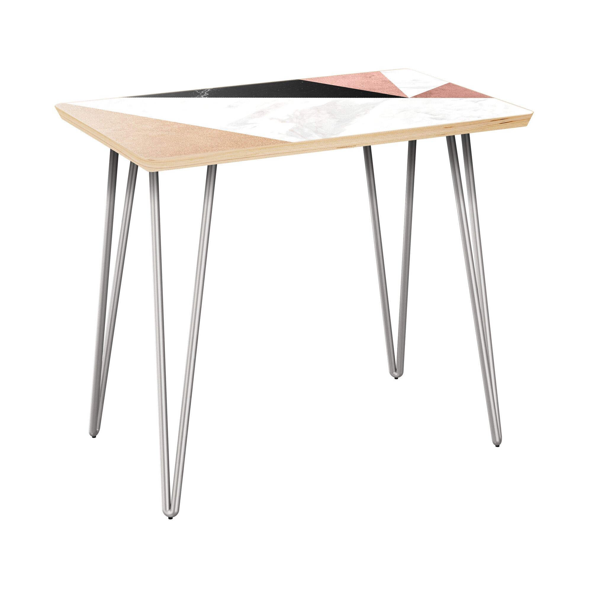 Rozell End Table Table Top Color: Natural, Table Base Color: Chrome