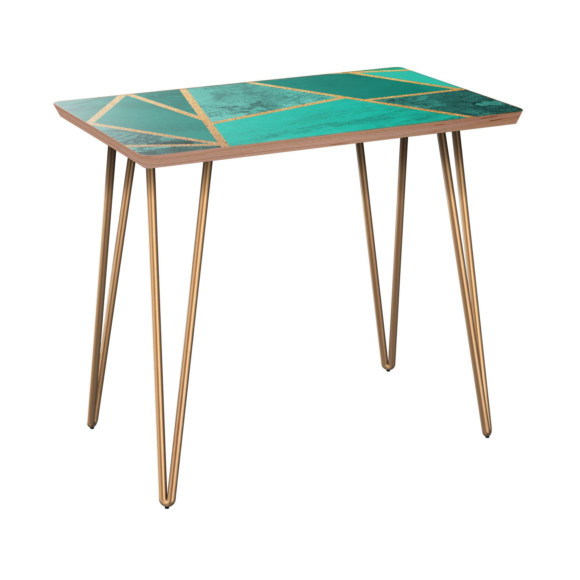 Newtonsville End Table Table Base Color: Brass, Table Top Color: Walnut