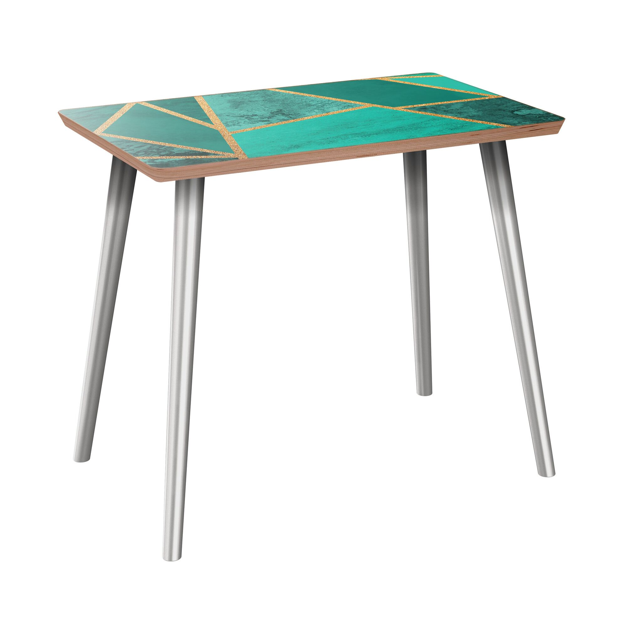 Nordham End Table Table Base Color: Chrome, Table Top Color: Walnut