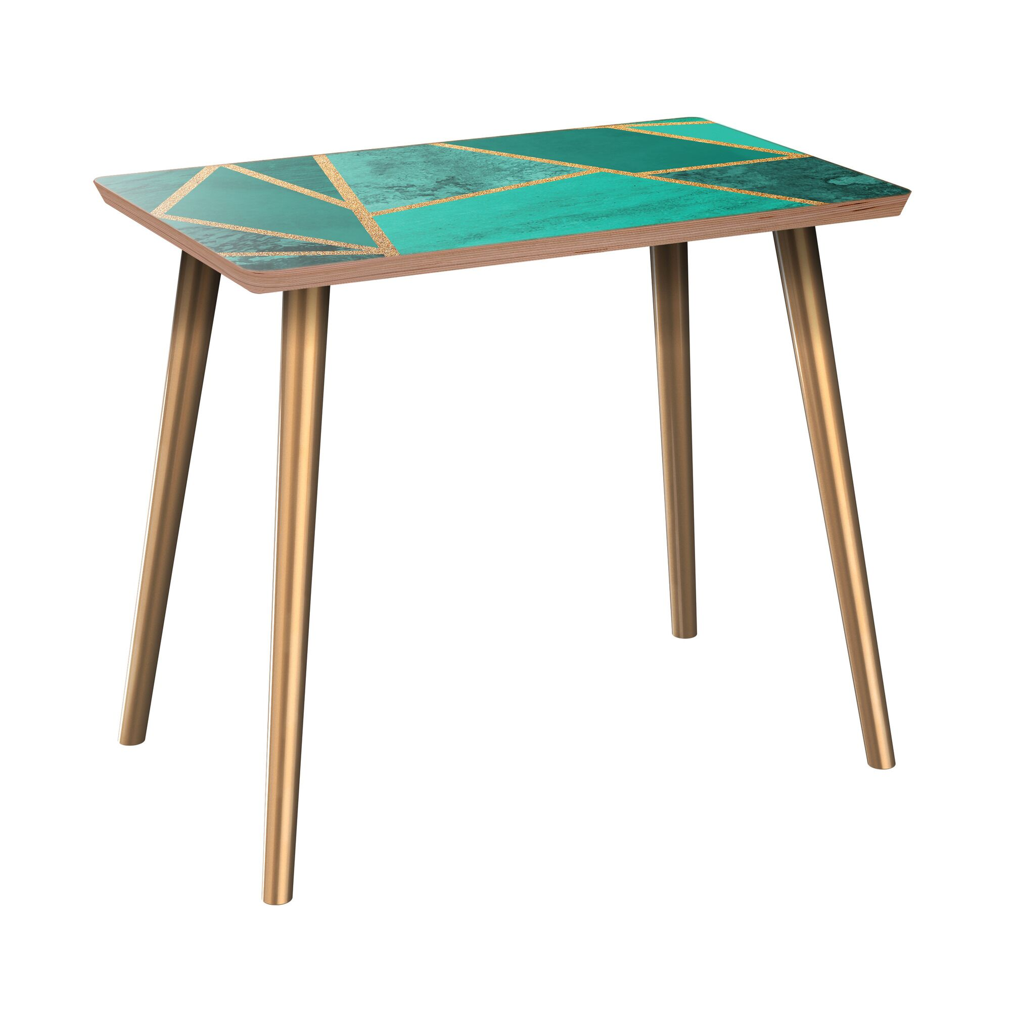 Nordham End Table Table Base Color: Brass, Table Top Color: Walnut