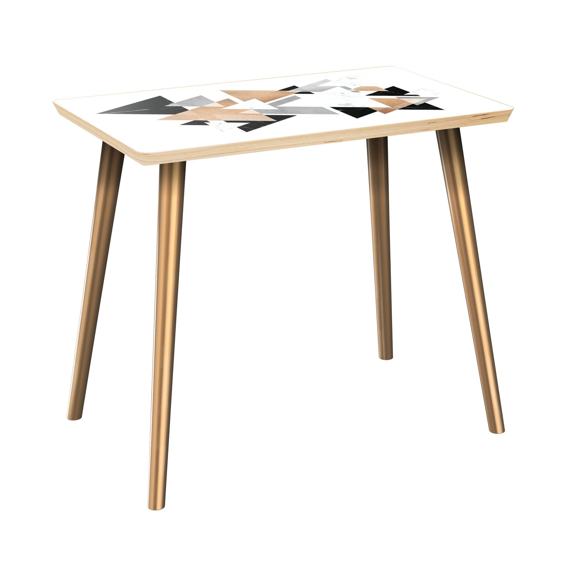 Gowan End Table Table Top Color: Natural, Table Base Color: Brass