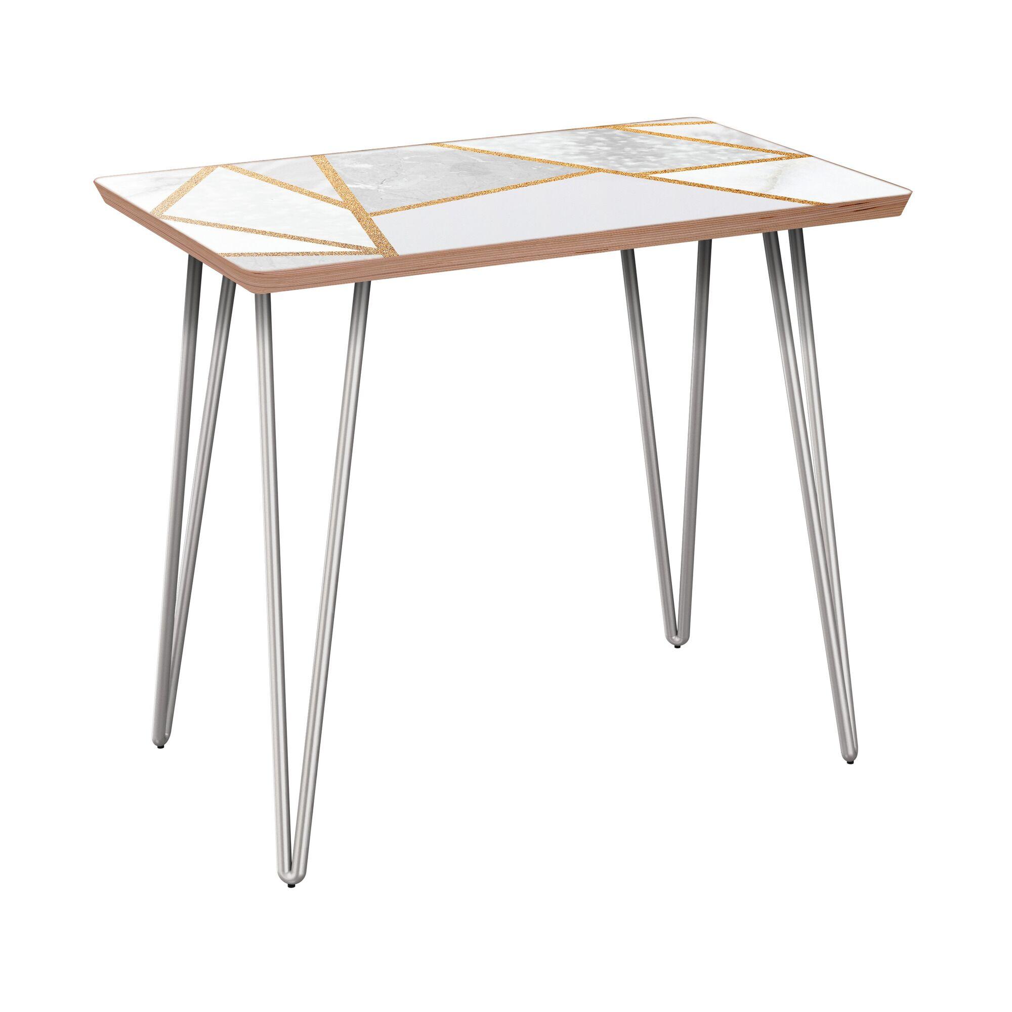 Gutshall End Table Table Base Color: Chrome, Table Top Color: Walnut