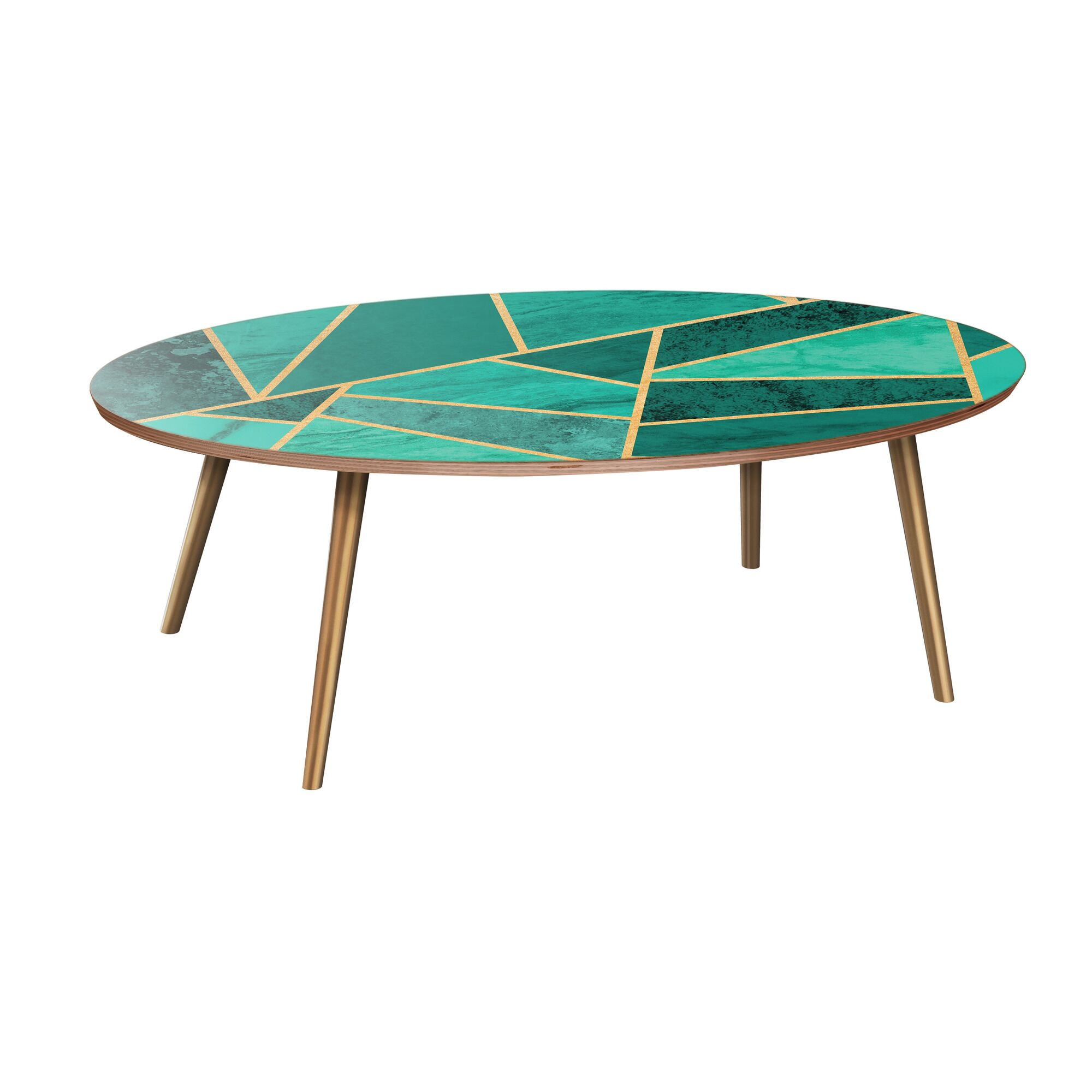Mcginley Coffee Table Table Base Color: Brass, Table Top Color: Walnut/Green
