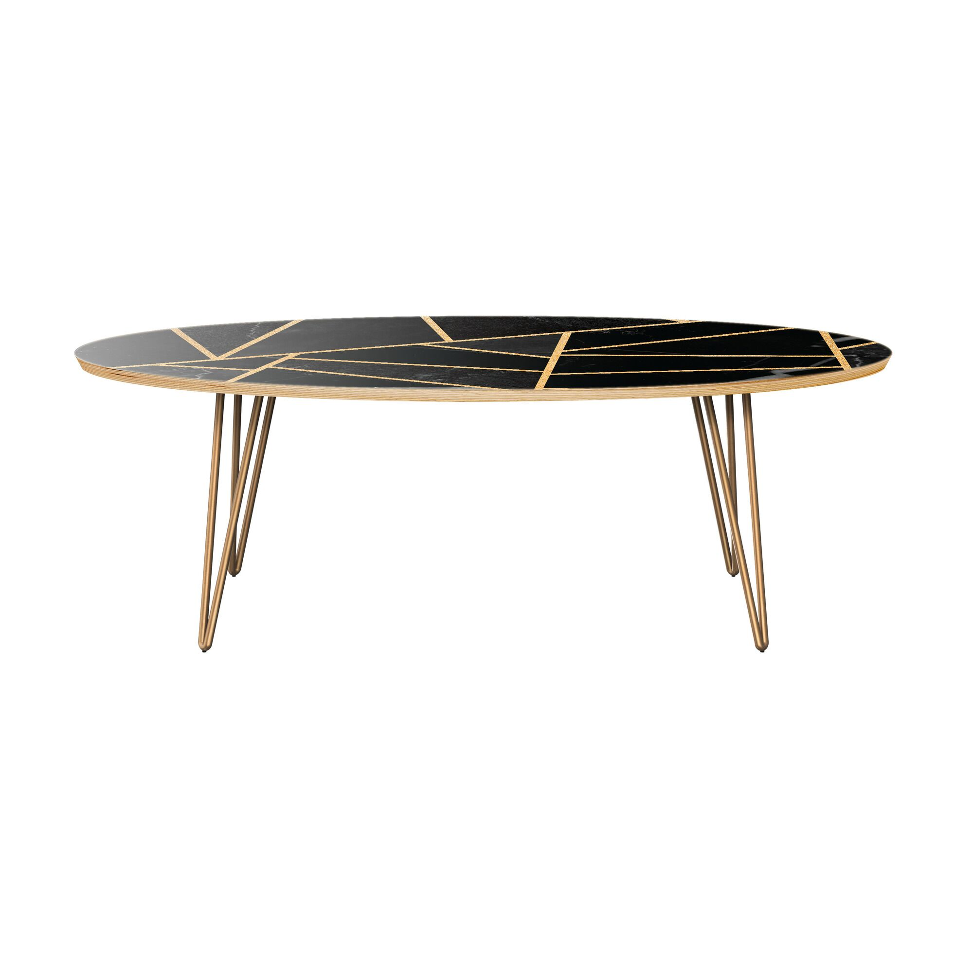 Mcgill Coffee Table Table Base Color: Brass, Table Top Color: Natural/Black