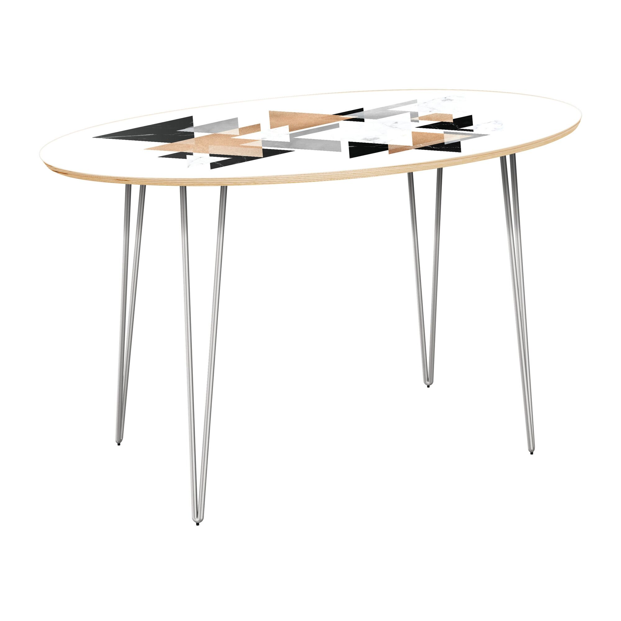 Vickers Dining Table Top Color: Natural, Base Color: Chrome