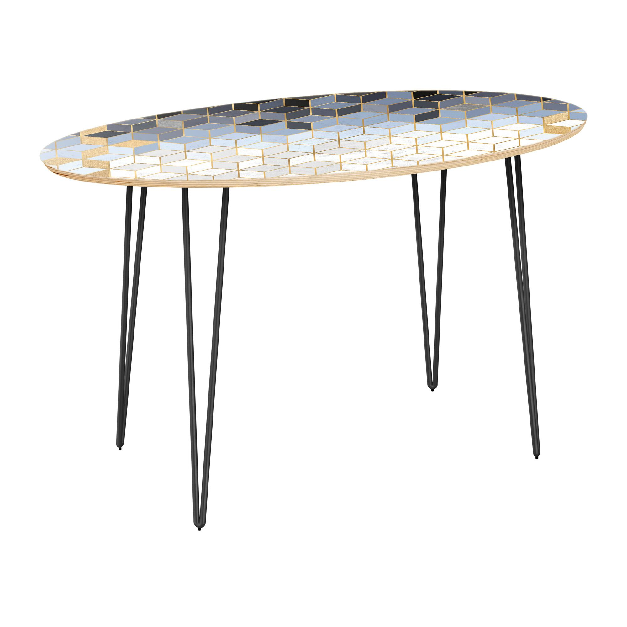 Earlville Dining Table Top Color: Natural, Base Color: Black