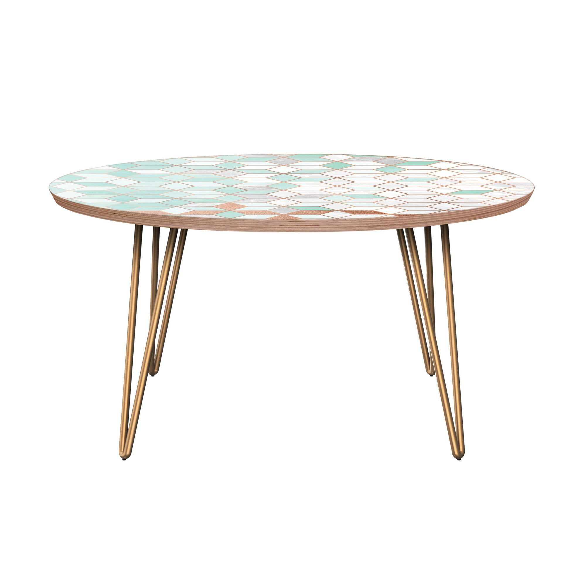 Graddy Coffee Table Table Base Color: Brass, Table Top Color: Walnut