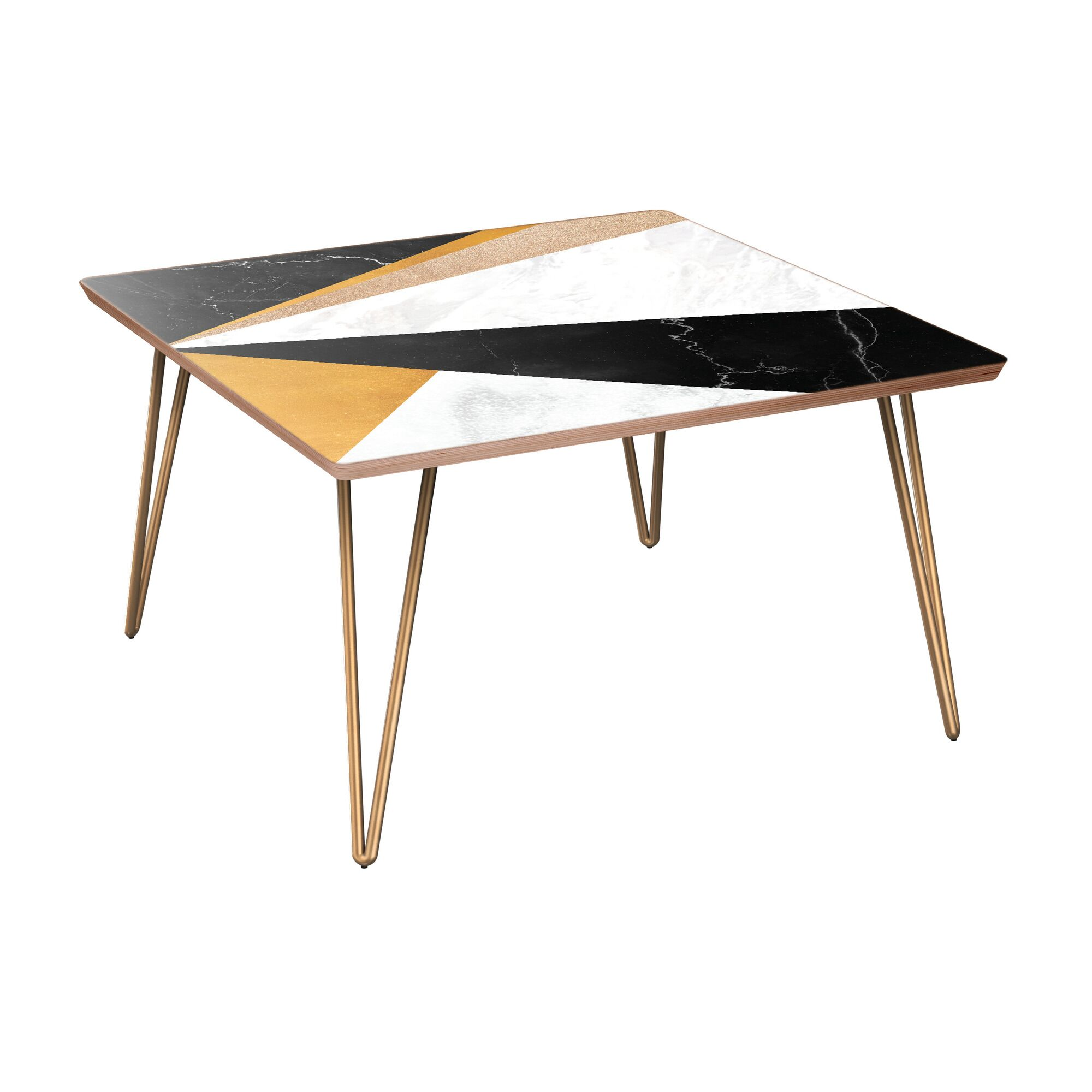 Goudy Coffee Table Table Base Color: Brass, Table Top Color: Walnut