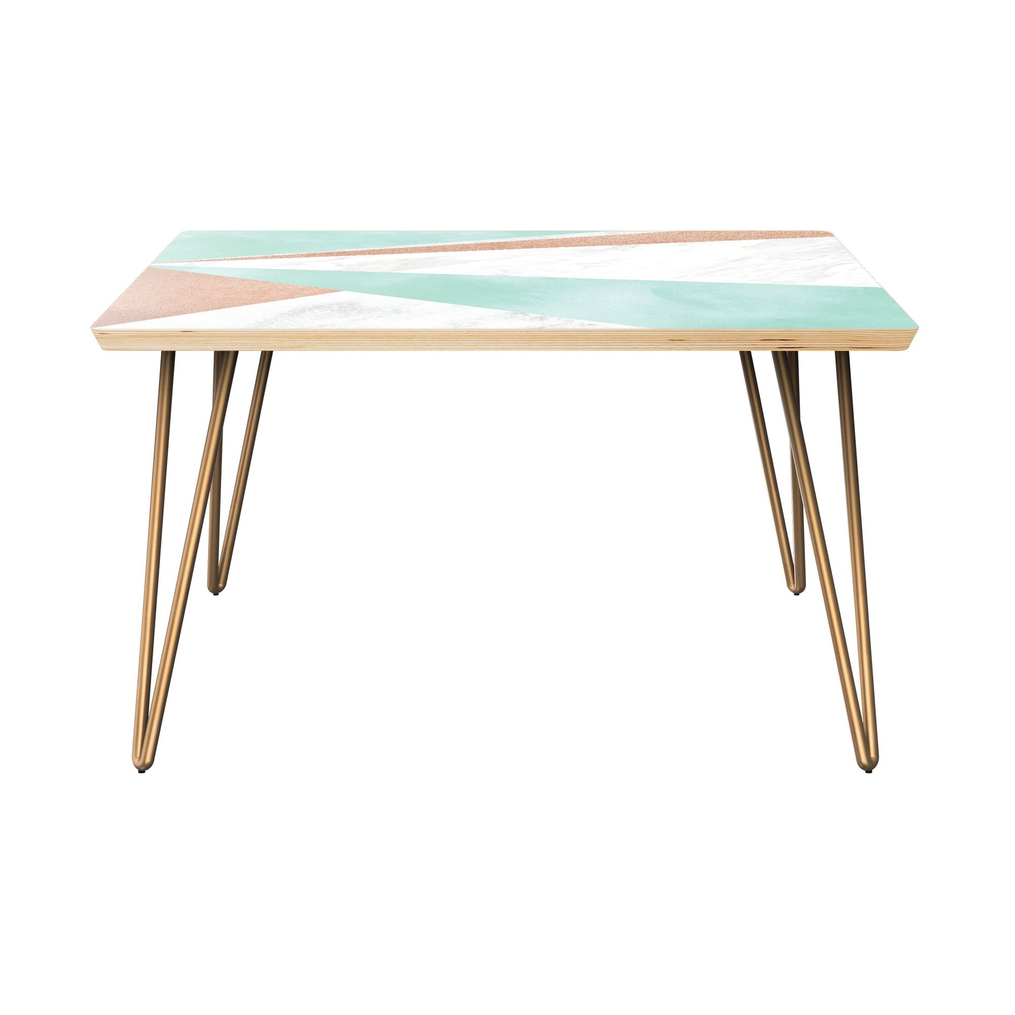 Gourley Coffee Table Table Top Color: Natural, Table Base Color: Brass