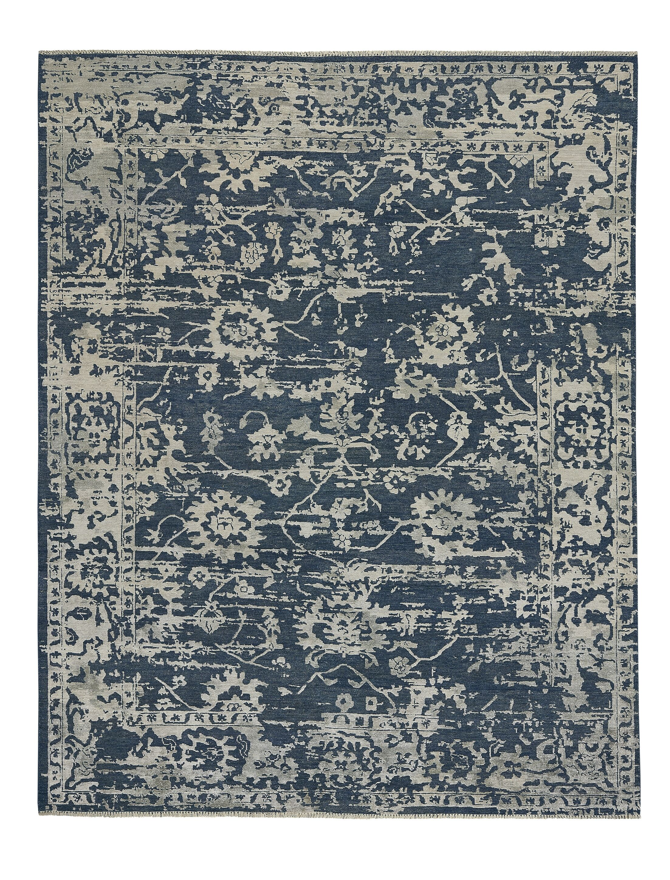 Barbican Hand-Knotted Blue Area Rug Rug Size: Rectangle 9' x 12'