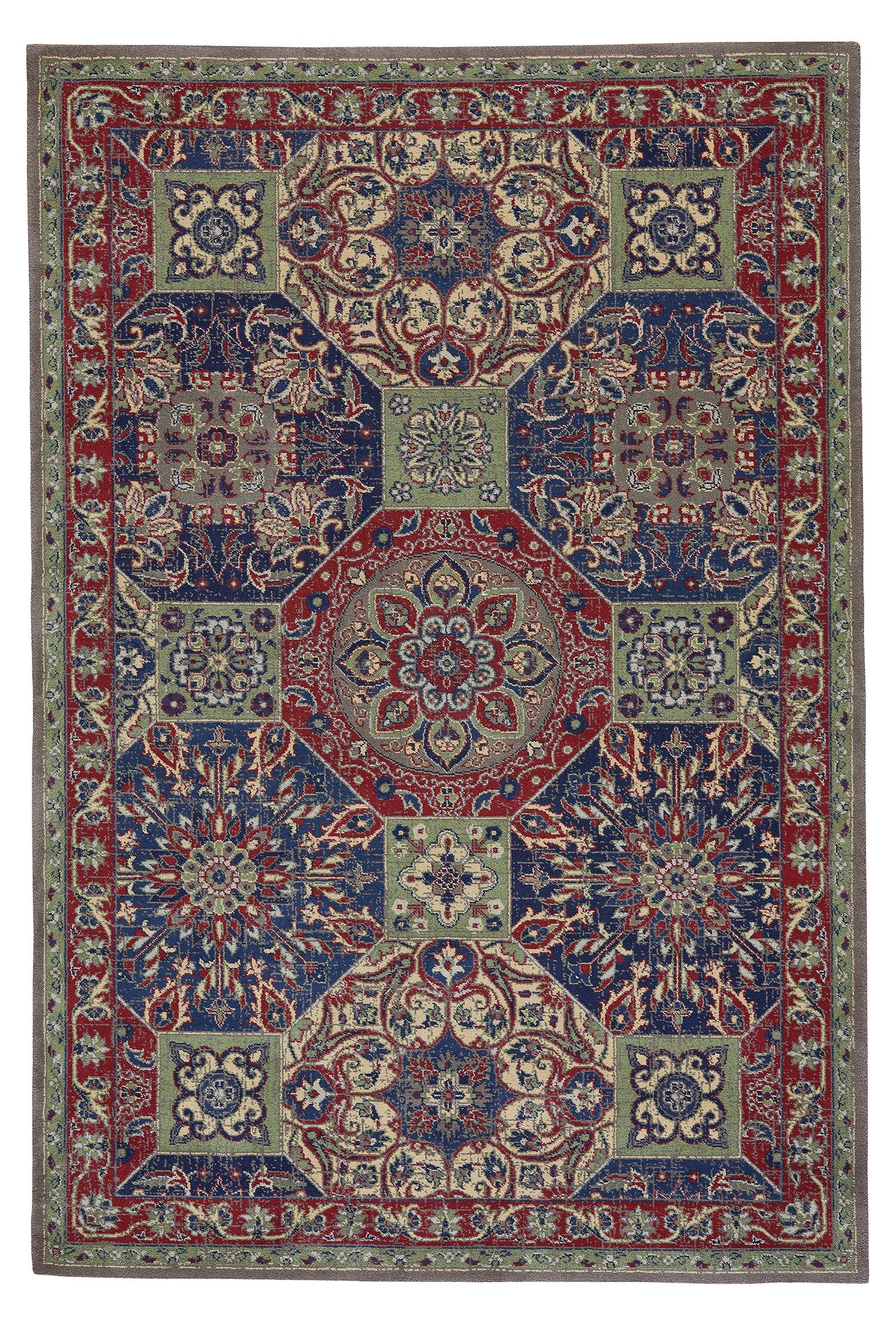 Reardon Panel Wool Blue/Red Area Rug Rug Size: Rectangle 5'3