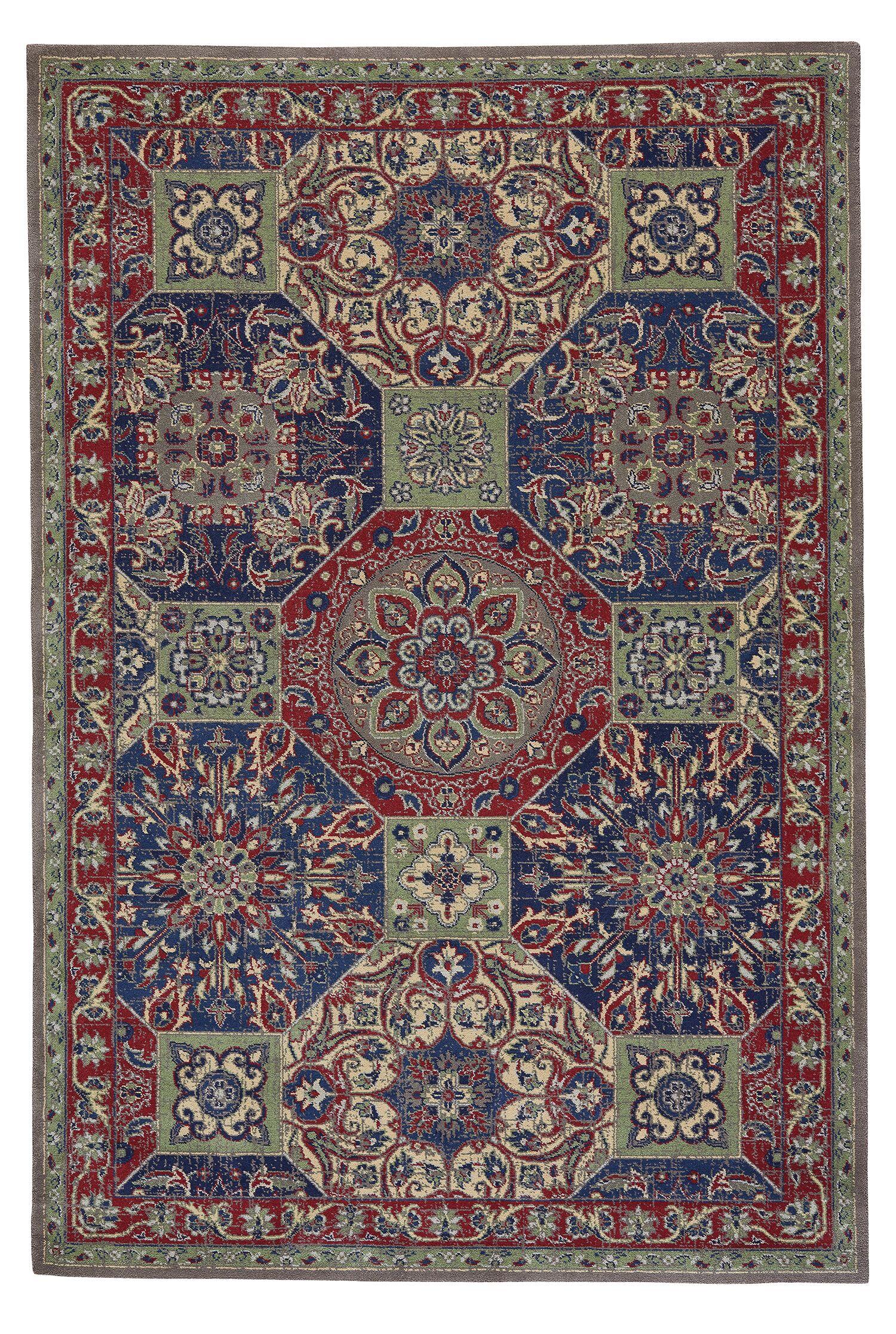 Reardon Panel Wool Blue/Red Area Rug Rug Size: Rectangle 3'11