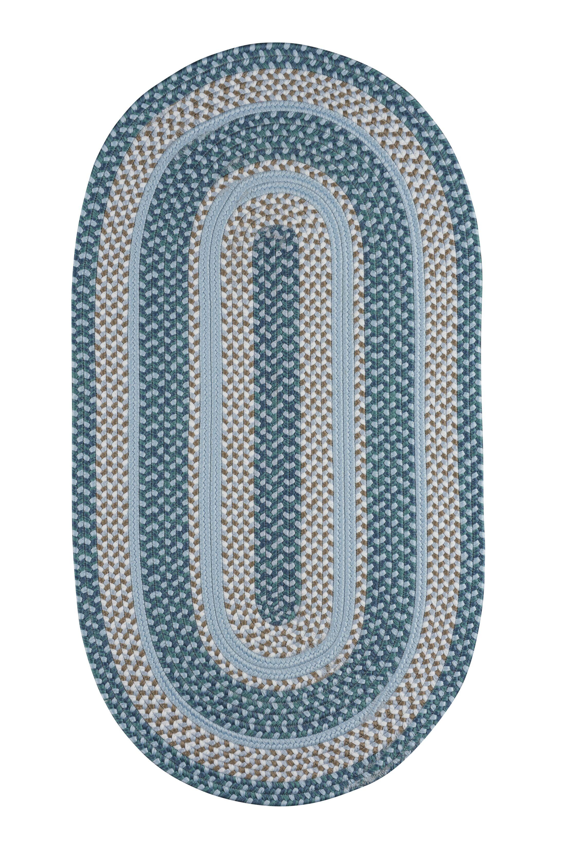 Wieland Hand-Braided Aqua Area Rug Rug Size: Oval 4' x 6'