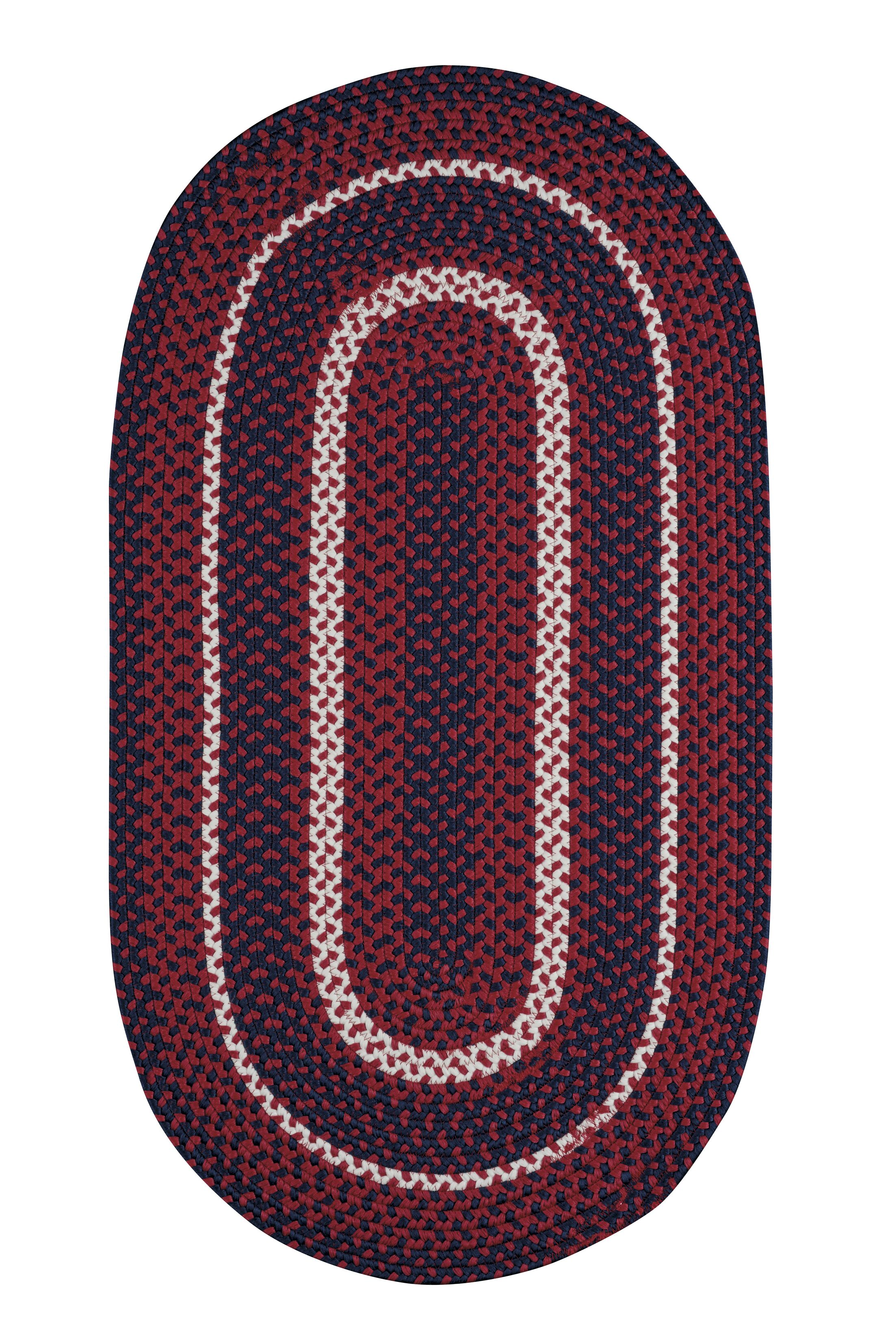 Wieland Hand-Braided Red Area Rug Rug Size: Oval 3' x 5'