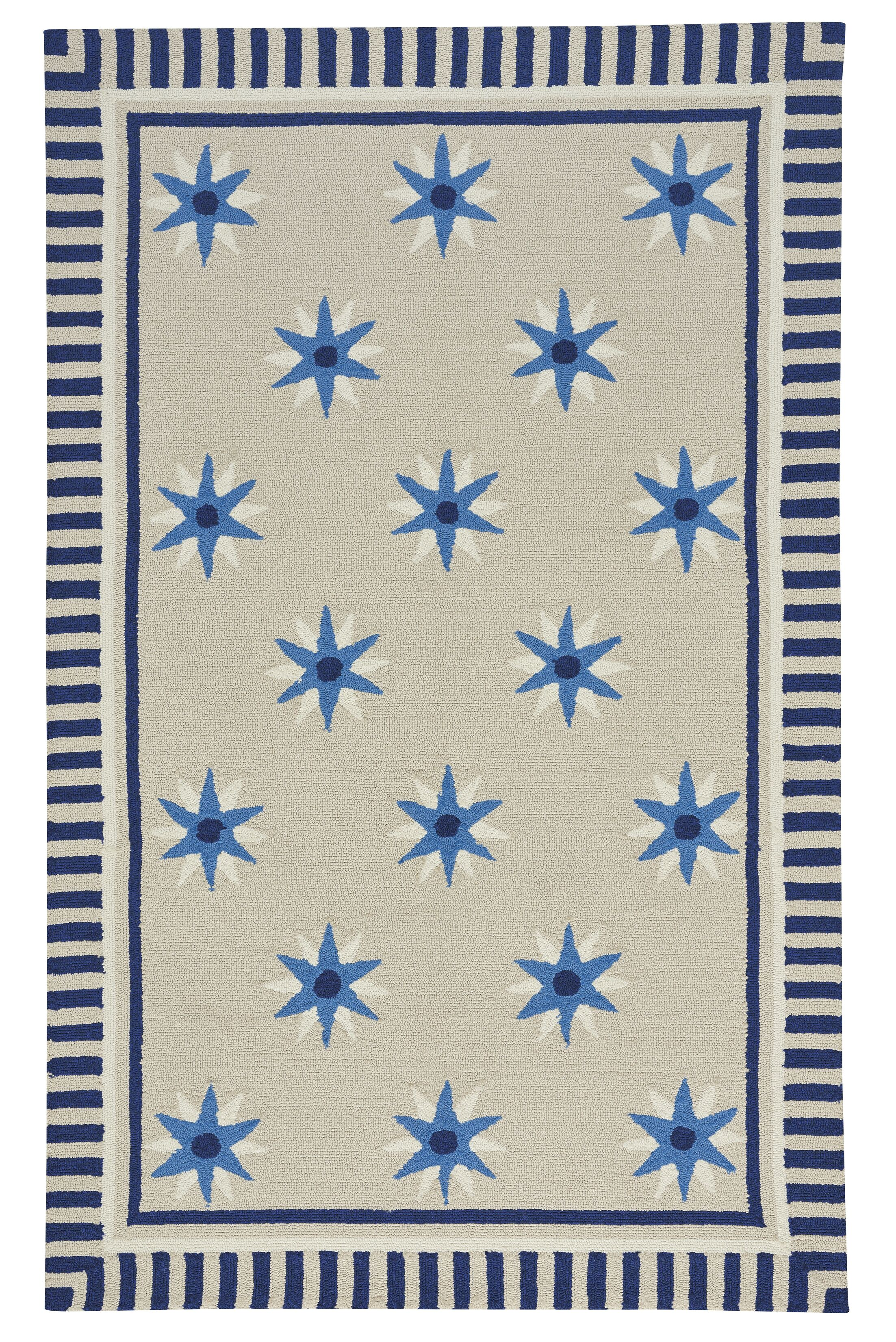 Wieland Tan/Blue Area Rug Rug Size: Rectangle 5' x 8'